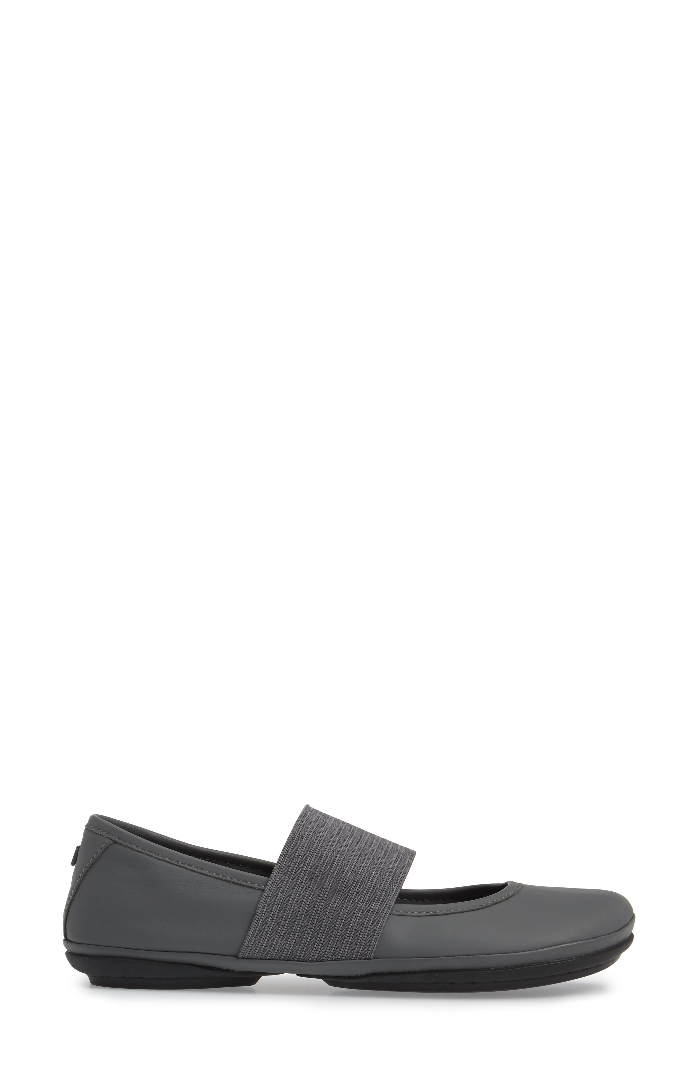 'Right Nina' Leather Ballerina Flat,                             Alternate thumbnail 3, color,                             Medium Grey Leather