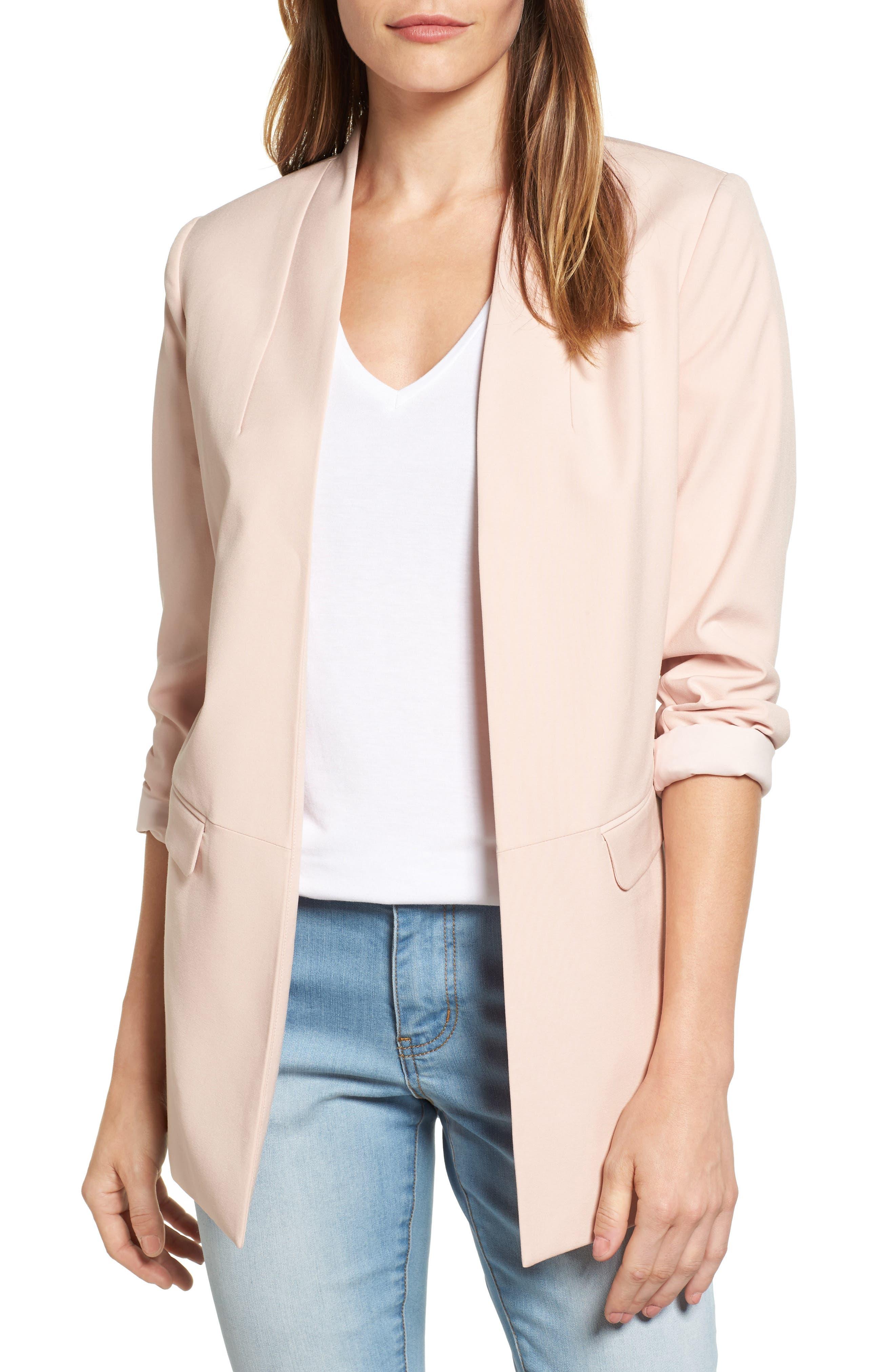 No-Closure Blazer,                         Main,                         color, Pink Smoke