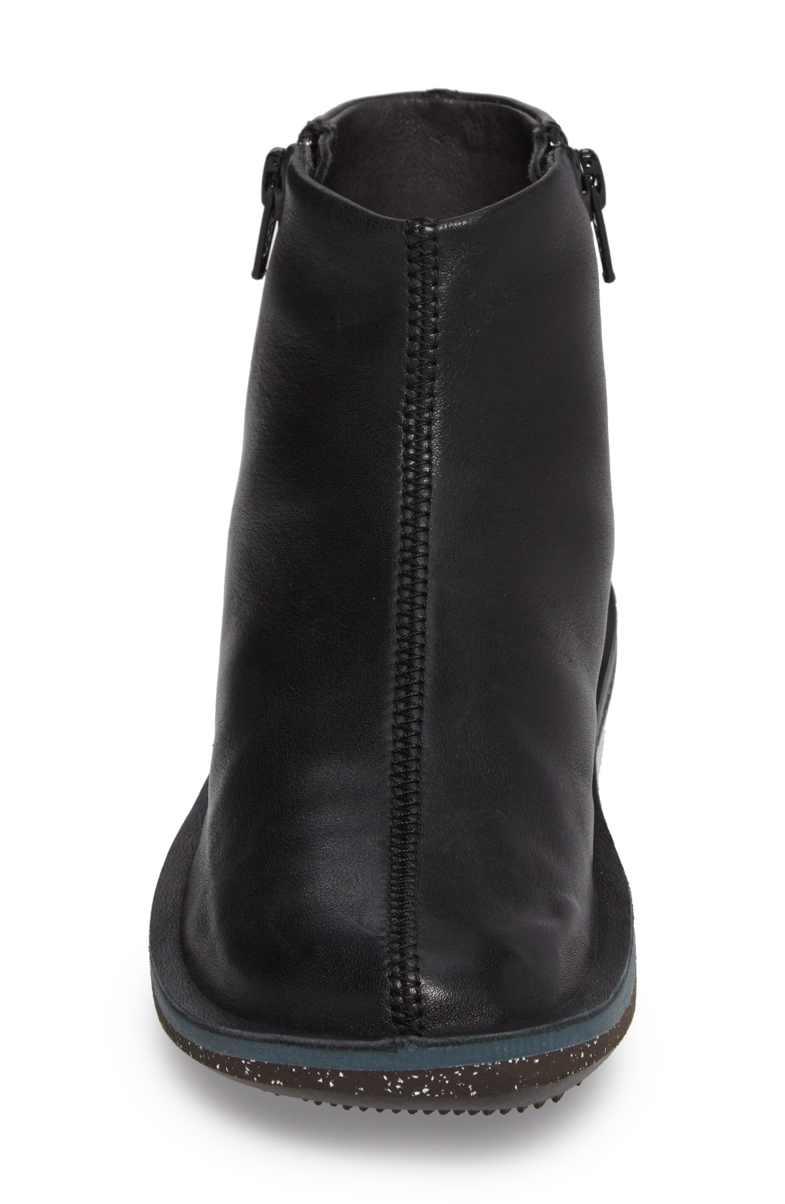 'Beetle' Ankle Bootie,                             Alternate thumbnail 4, color,                             Black Leather