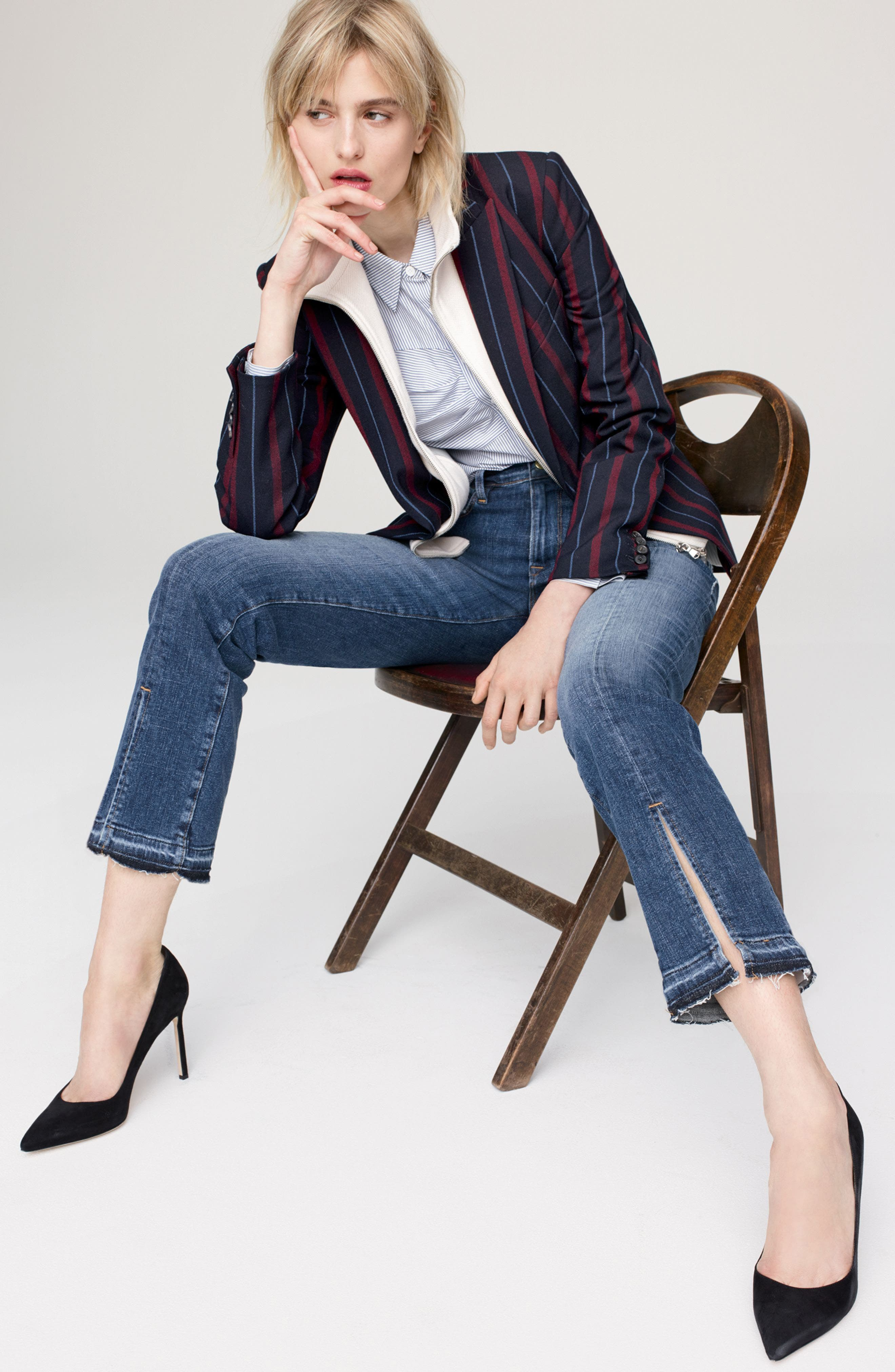 Veronica Beard Jacket, Blouse & FRAME Jeans Outfit with Accessories