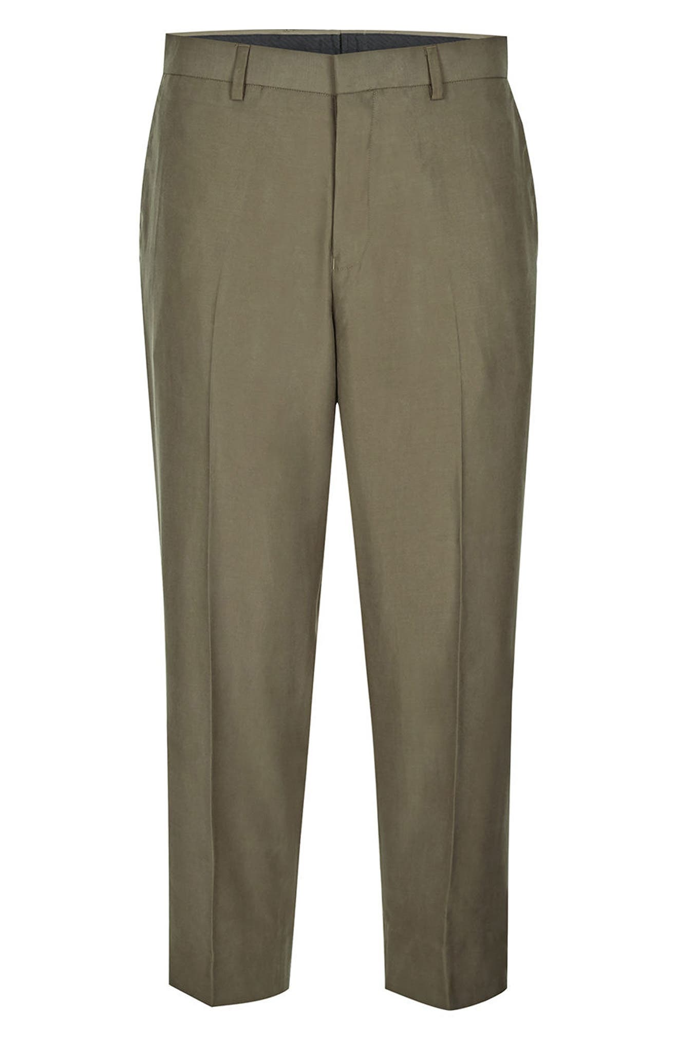 Crop Wide Leg Trousers,                             Alternate thumbnail 5, color,                             Olive
