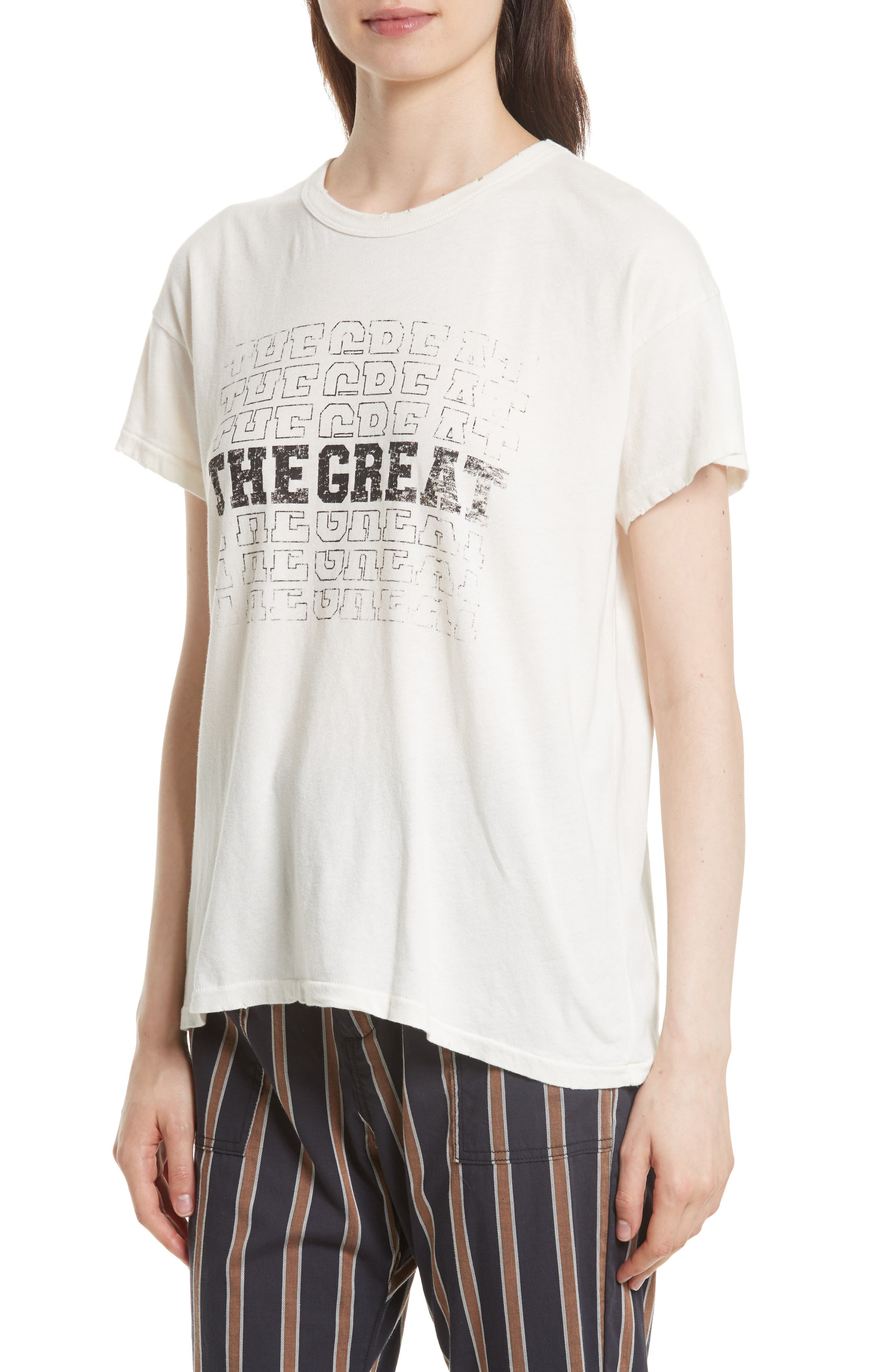 The Boxy Graphic Tee,                             Alternate thumbnail 4, color,                             Washed White W/ Black