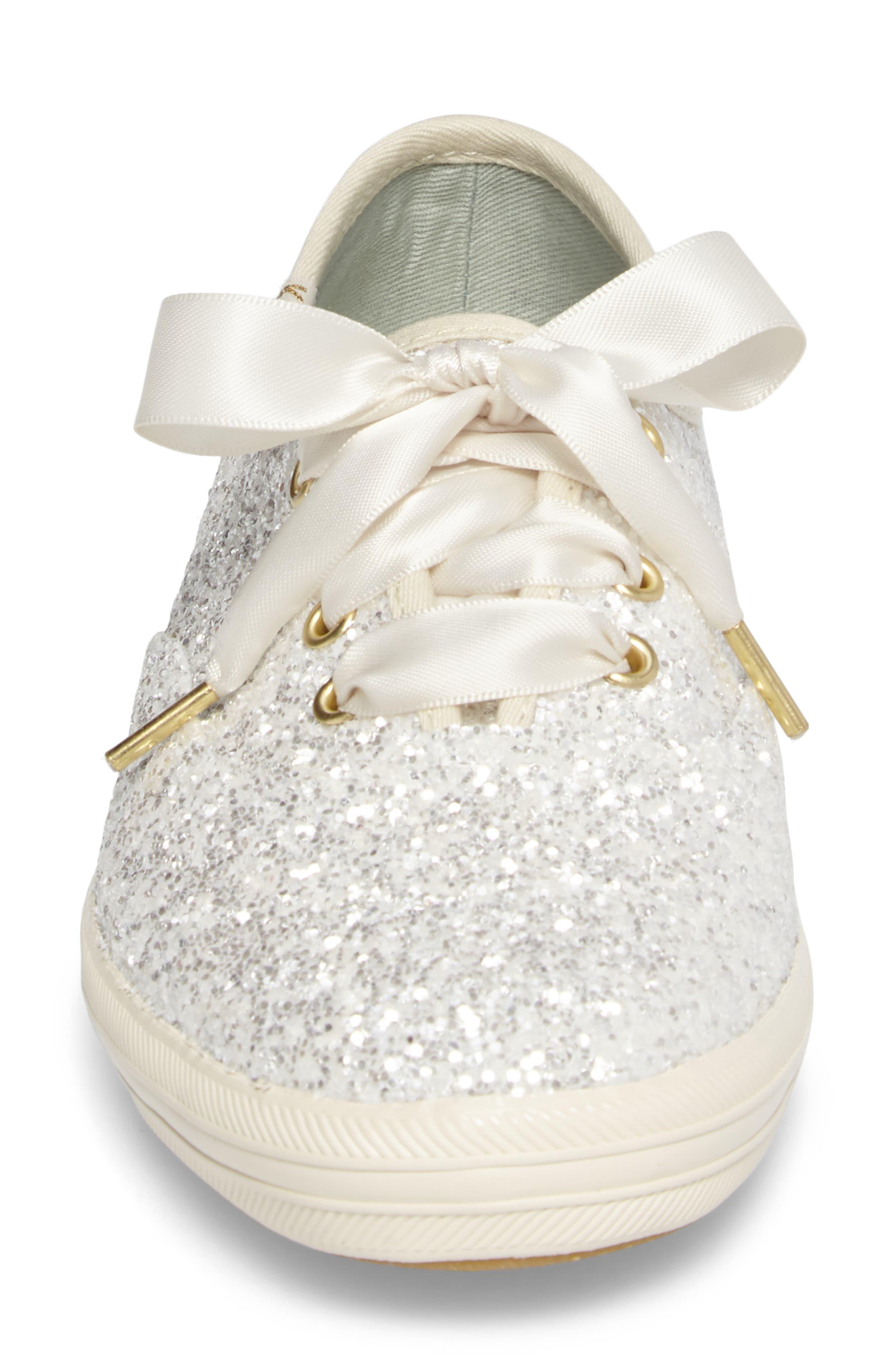 glitter sneaker,                             Alternate thumbnail 4, color,                             Cream