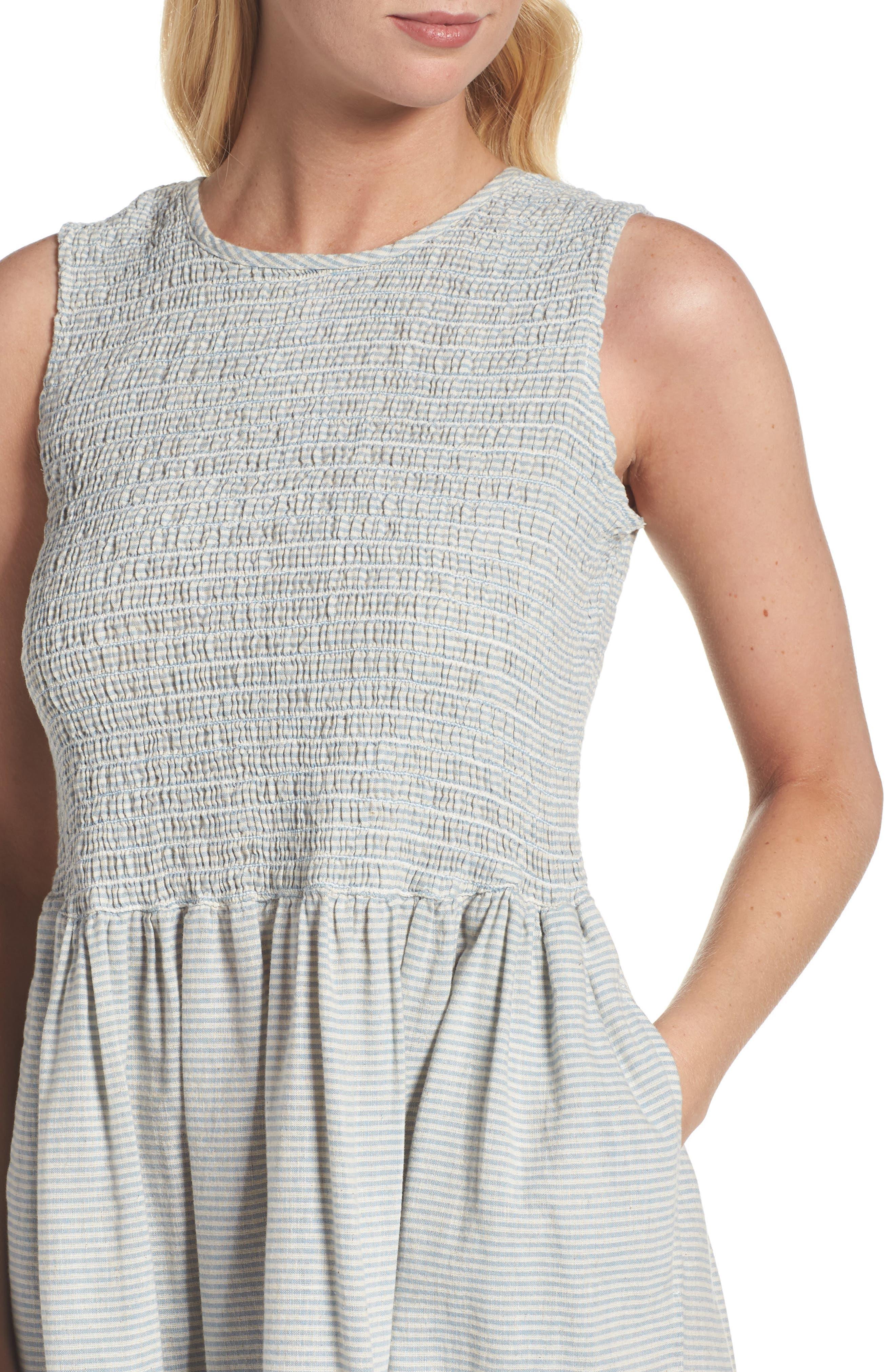 Serge Stripe Fit & Flare Dress,                             Alternate thumbnail 4, color,                             Indigo Wash