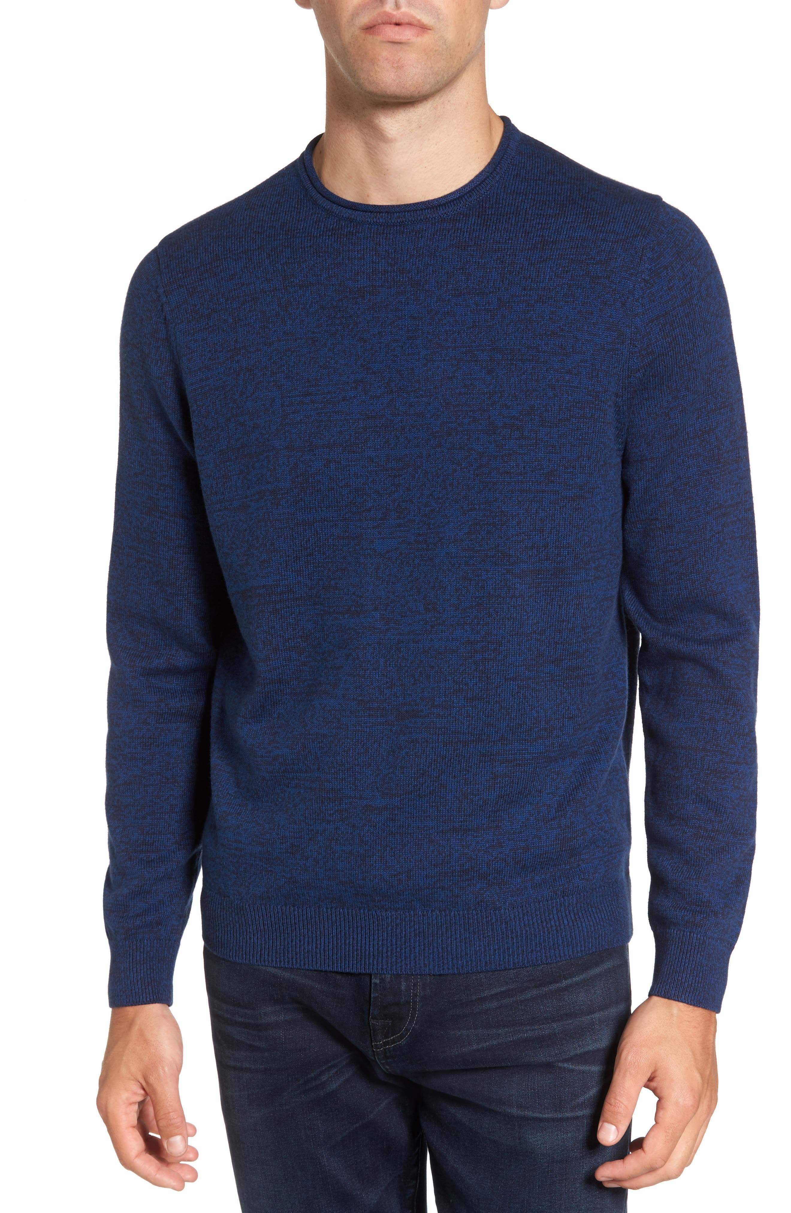 Cotton & Cashmere Roll Neck Sweater,                         Main,                         color, Navy Medieval Marl