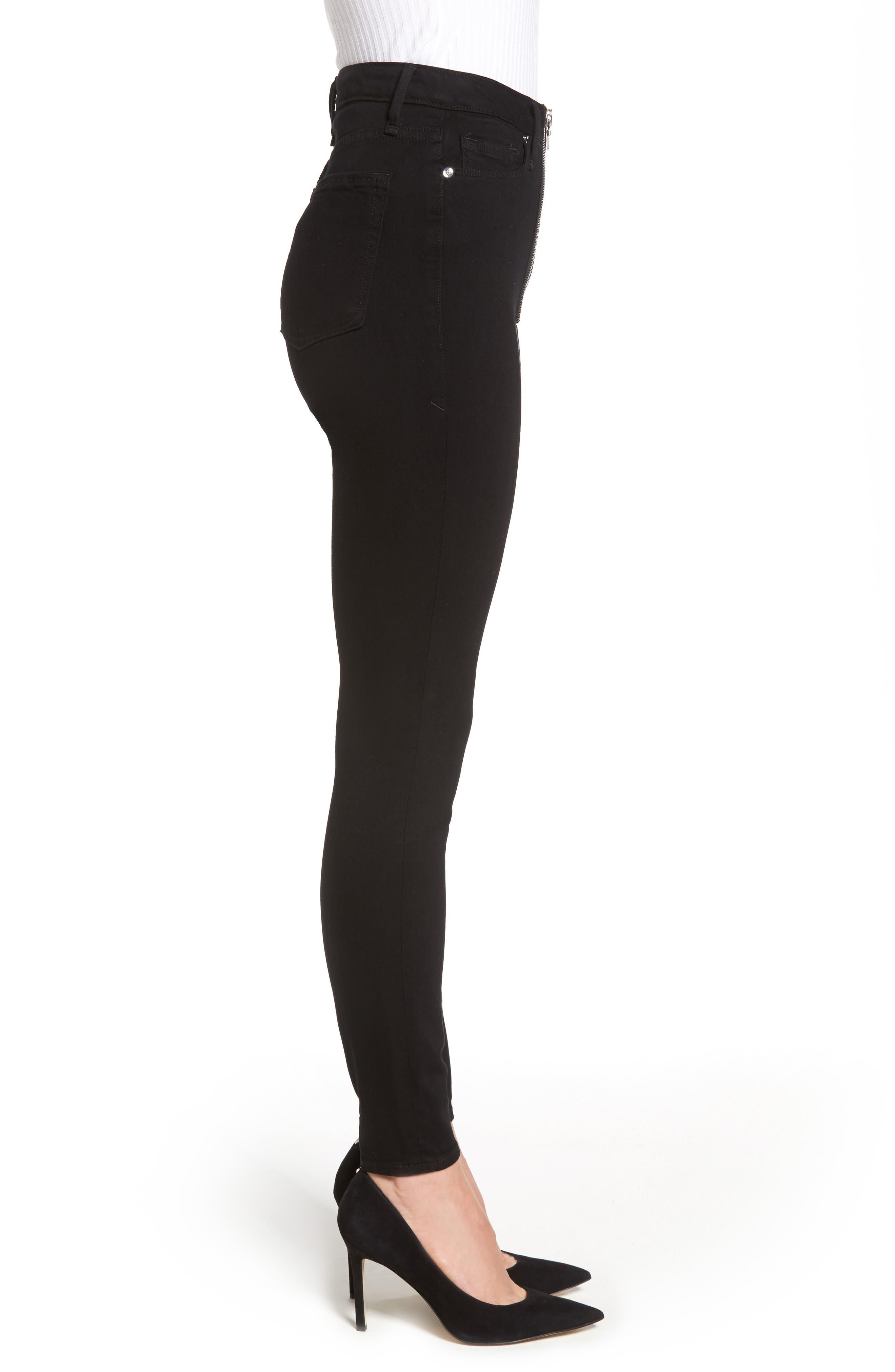 Good Waist Exposed Zip Skinny Jeans,                             Alternate thumbnail 3, color,                             Black001