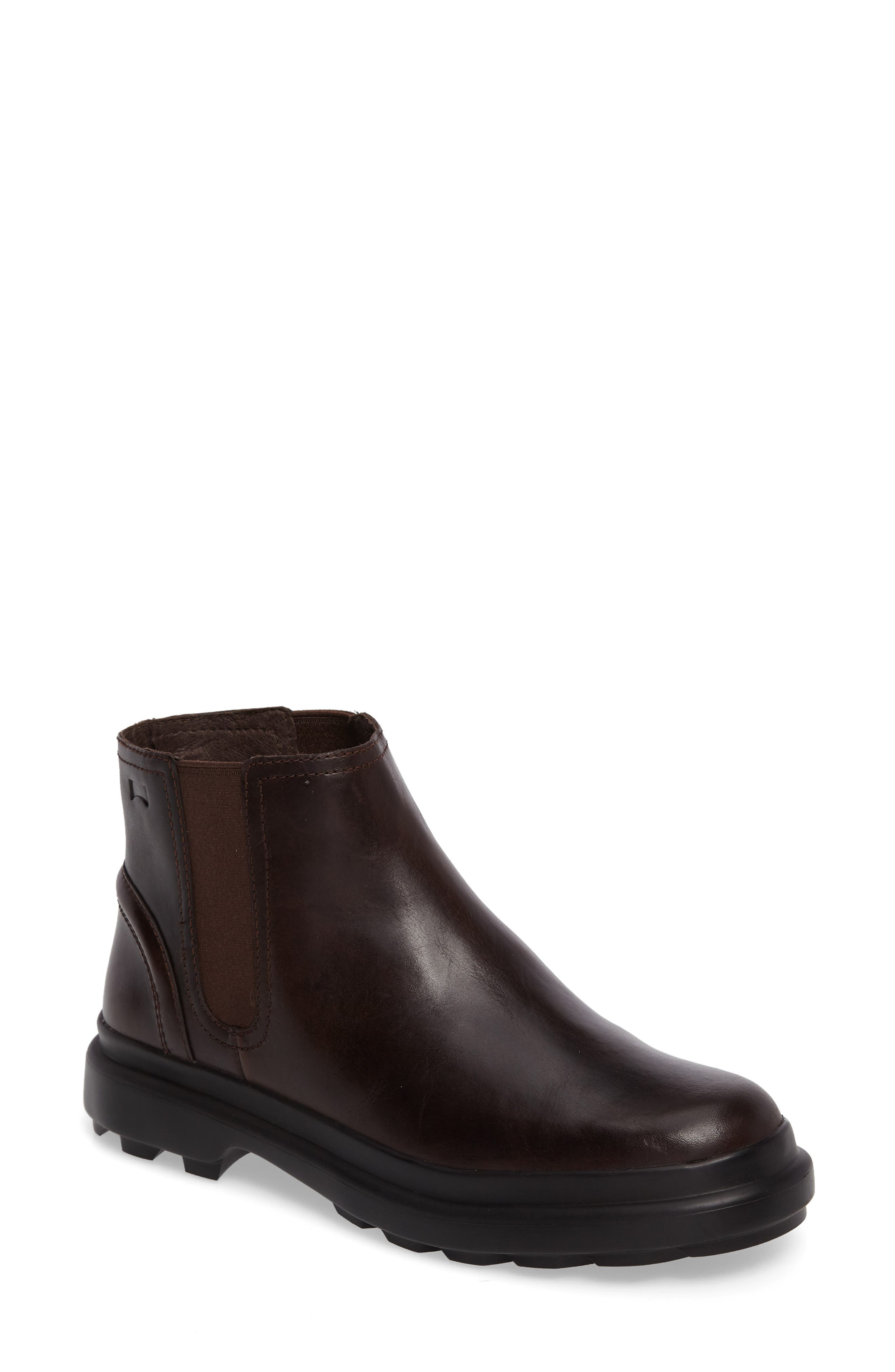 Turtle Lugged Chelsea Boot,                             Main thumbnail 1, color,                             Dark Brown Leather