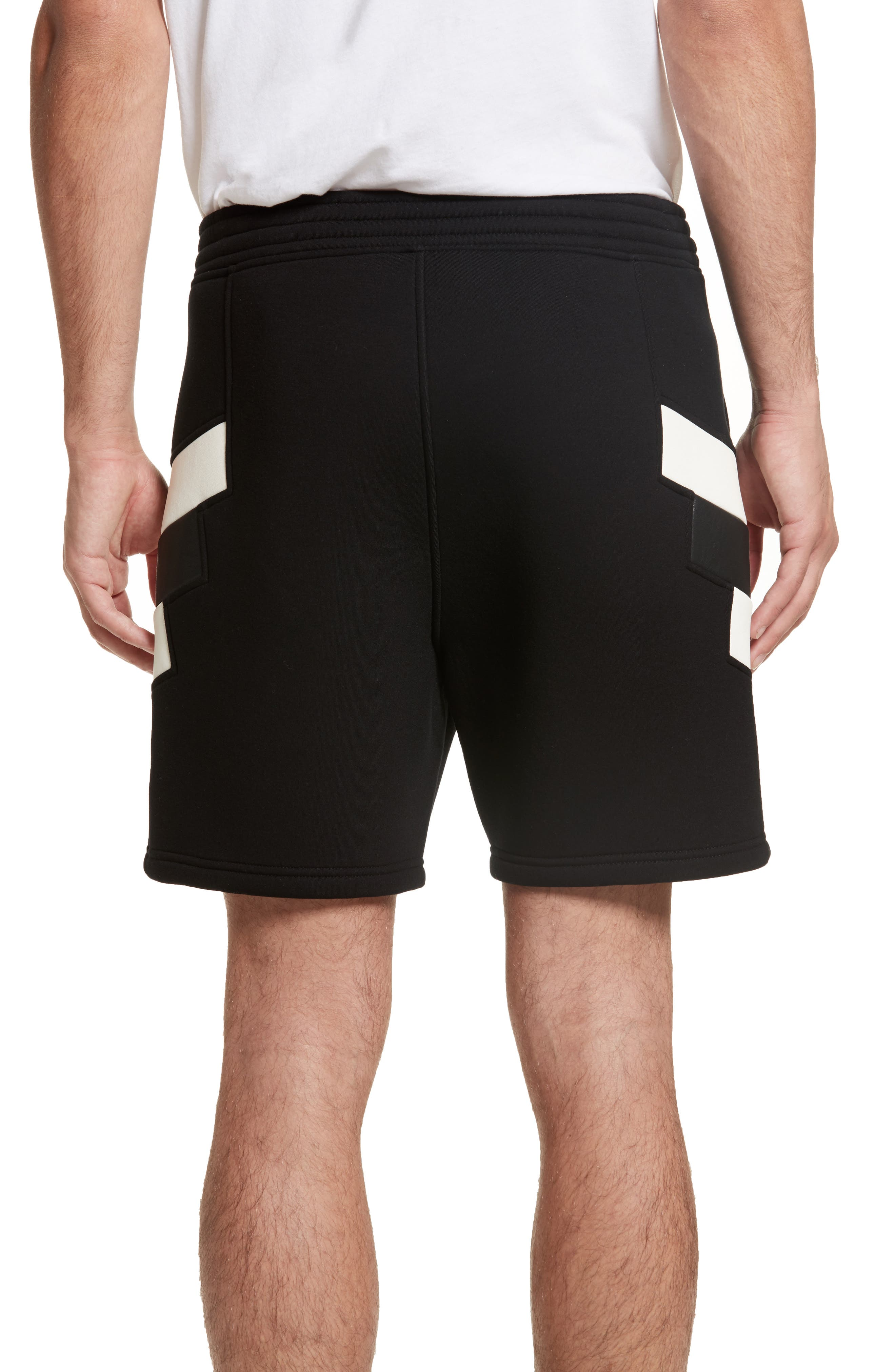 Retro Faux Leather Trim Sweat Shorts,                             Alternate thumbnail 2, color,                             Black/ Off White