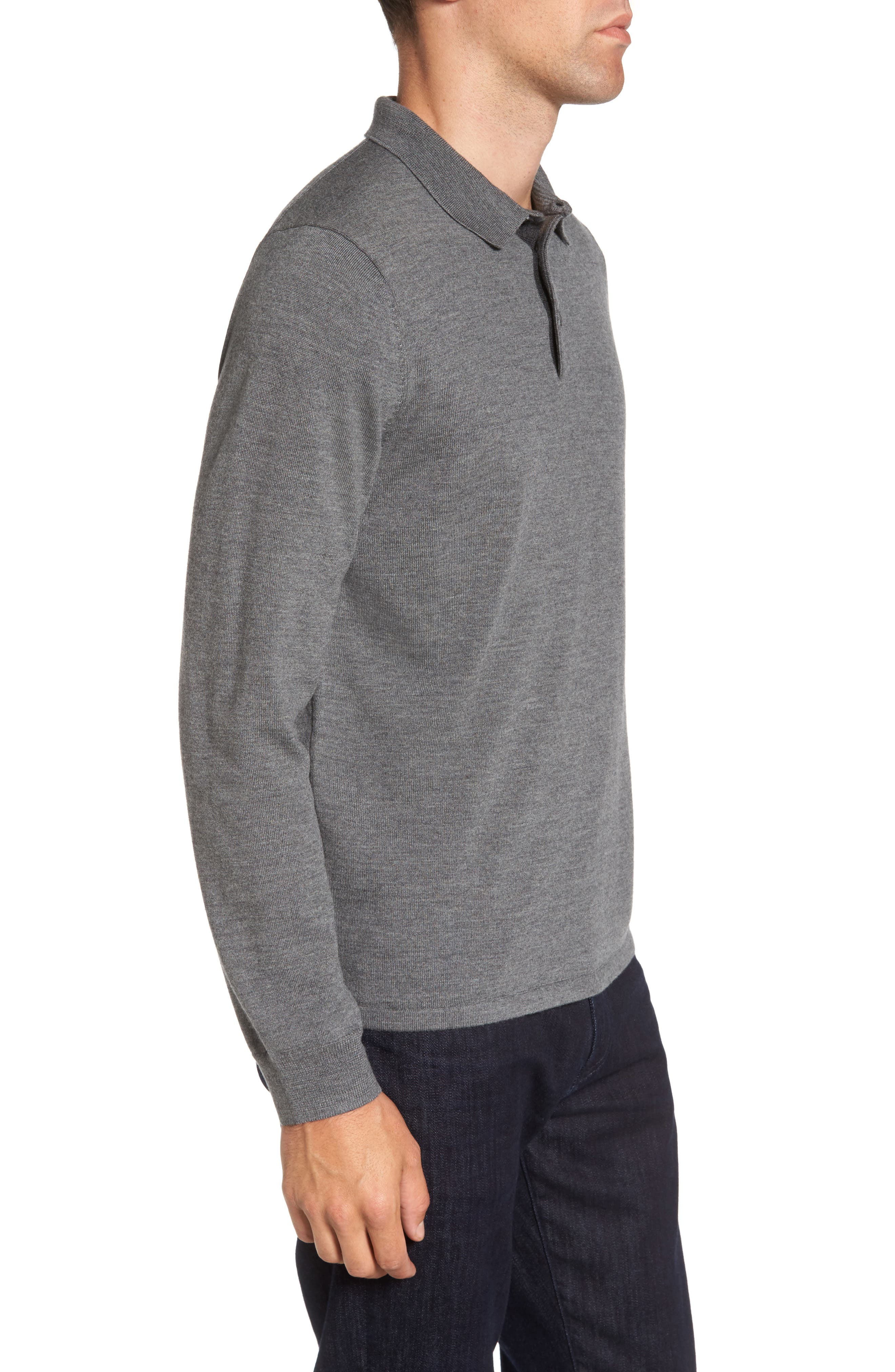 Merino Wool Polo Sweater,                             Alternate thumbnail 3, color,                             Grey Heather