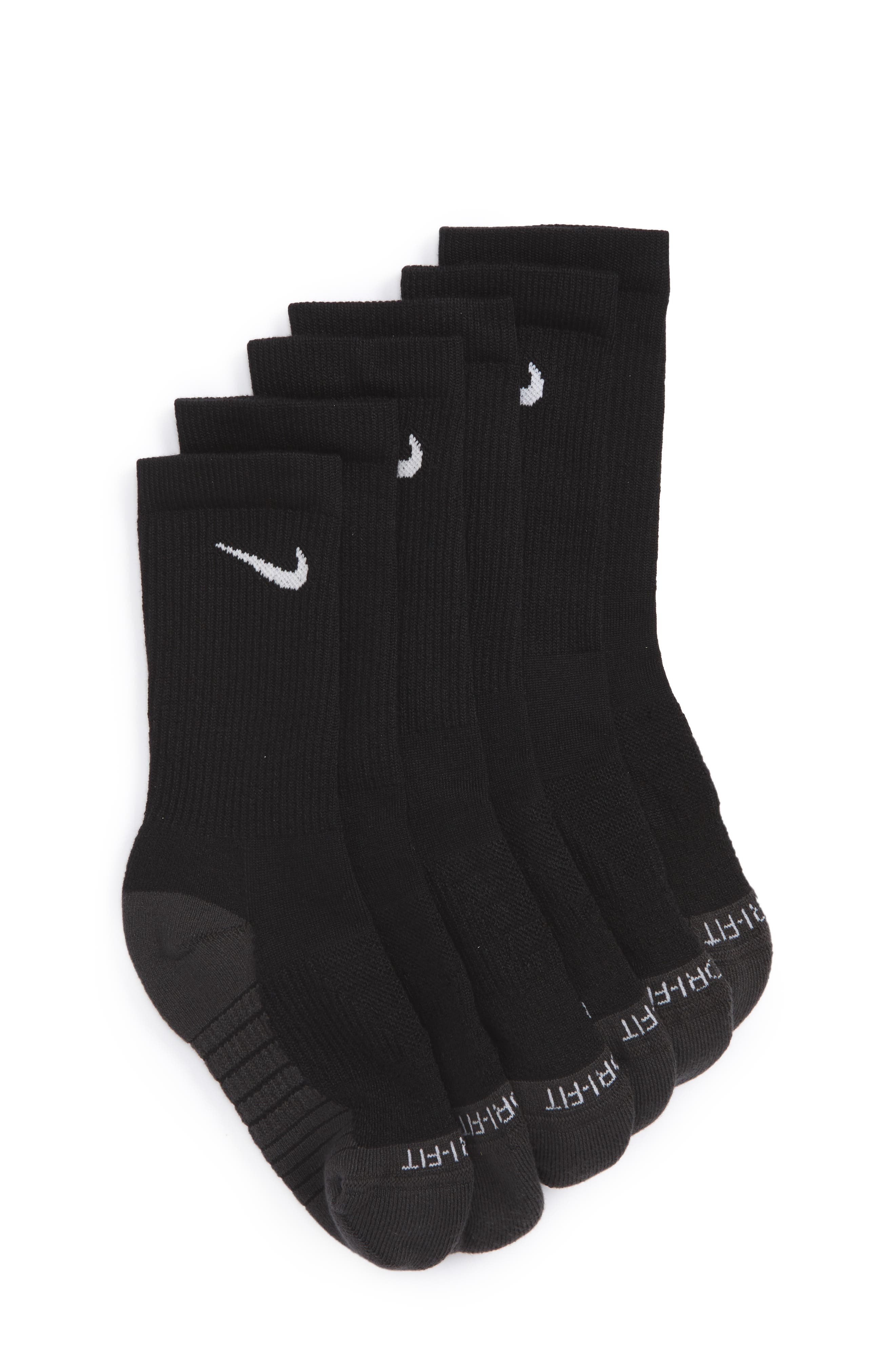 Dry Ultimate Flight 3-Pack Cushioned Crew Socks,                         Main,                         color, Black/ Anthracite/ White