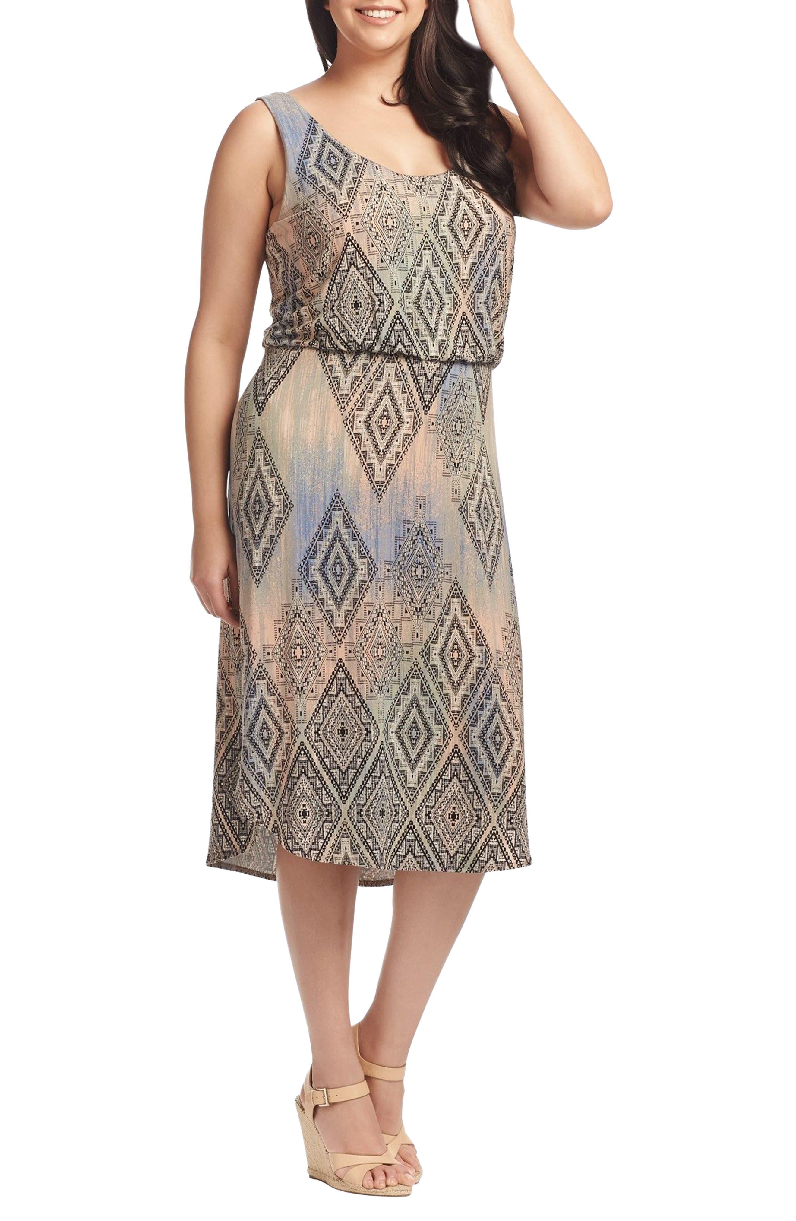 Soraya Print Jersey Midi Dress,                             Alternate thumbnail 3, color,                             Aztec Overlay Diamond