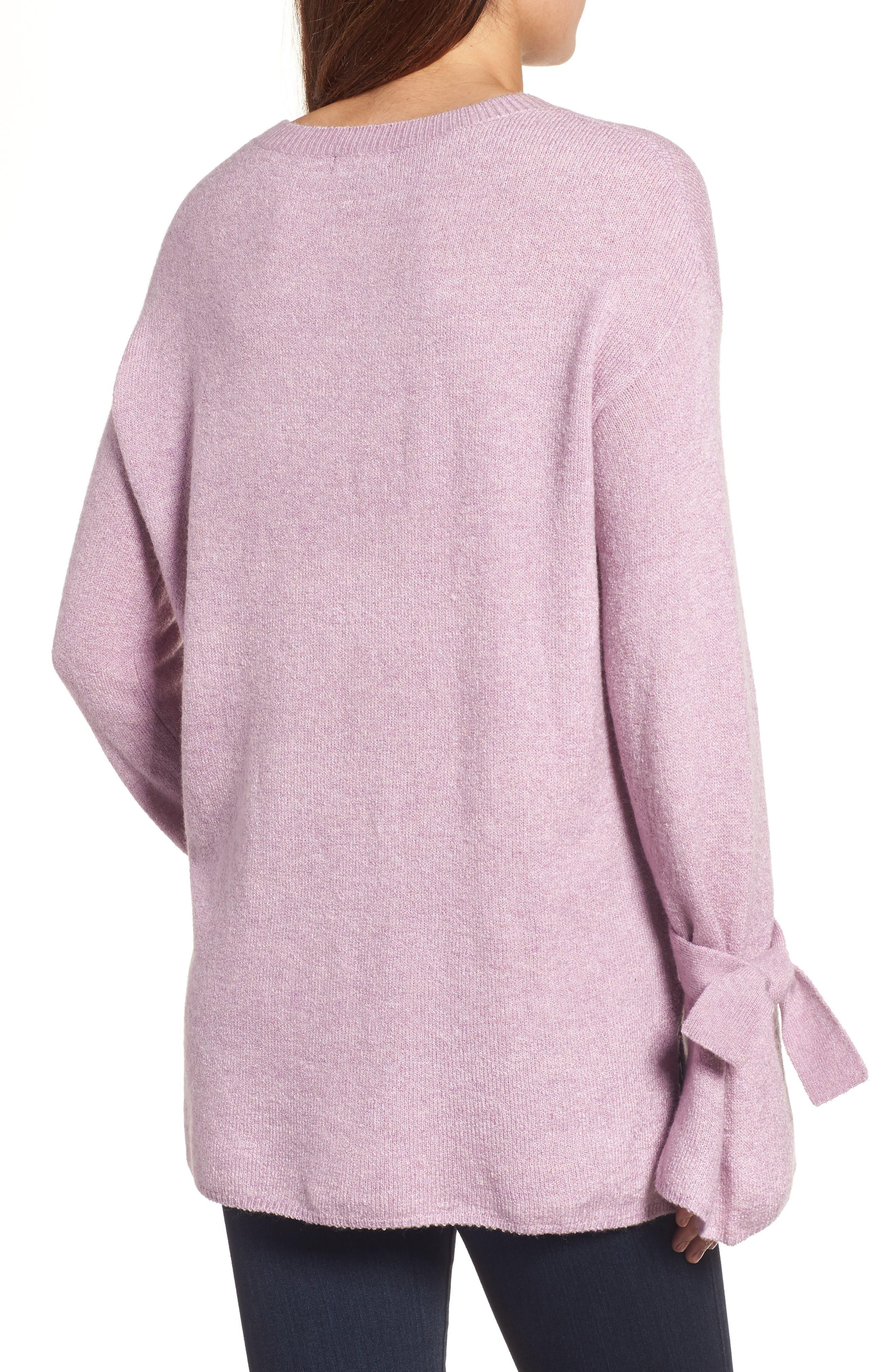 Tie Bell Sleeve Sweater,                             Alternate thumbnail 2, color,                             Purple Mist