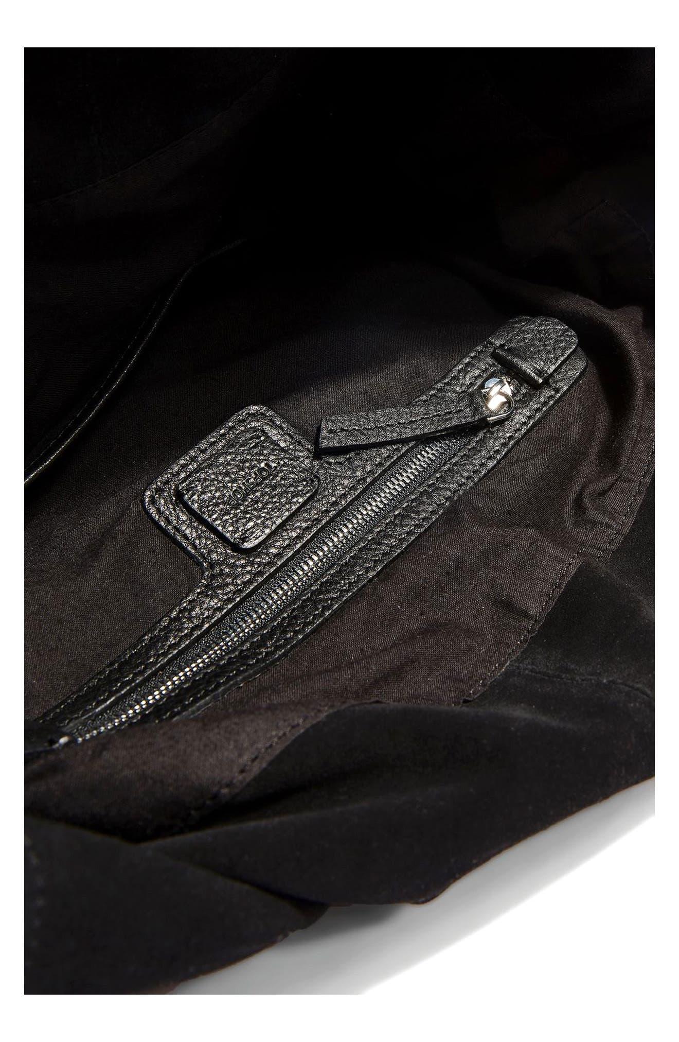 Alternate Image 4  - Topshop Premium Leather Hobo Bag