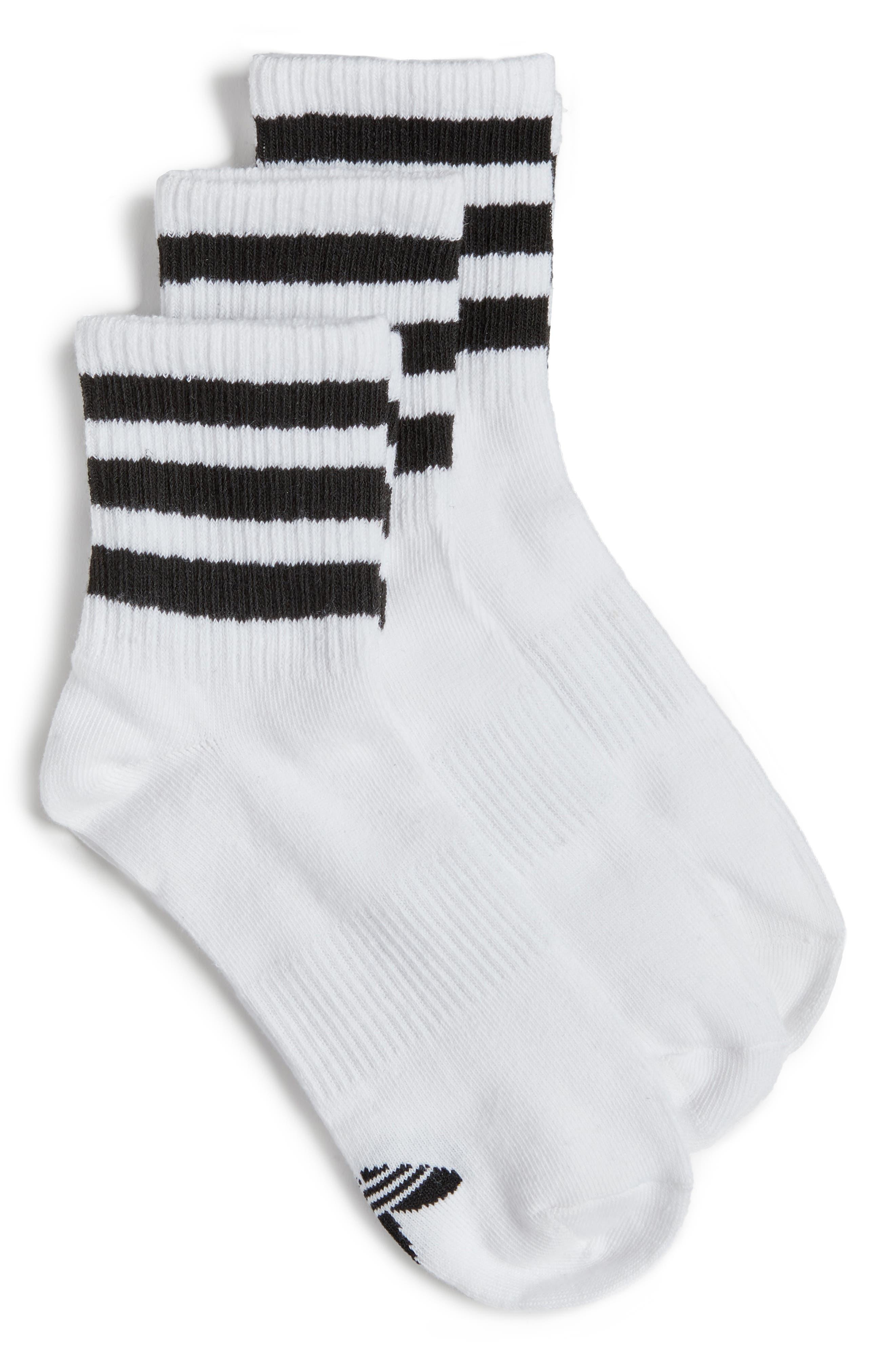 3-Pack 3-Stripe Ankle Socks,                         Main,                         color, White