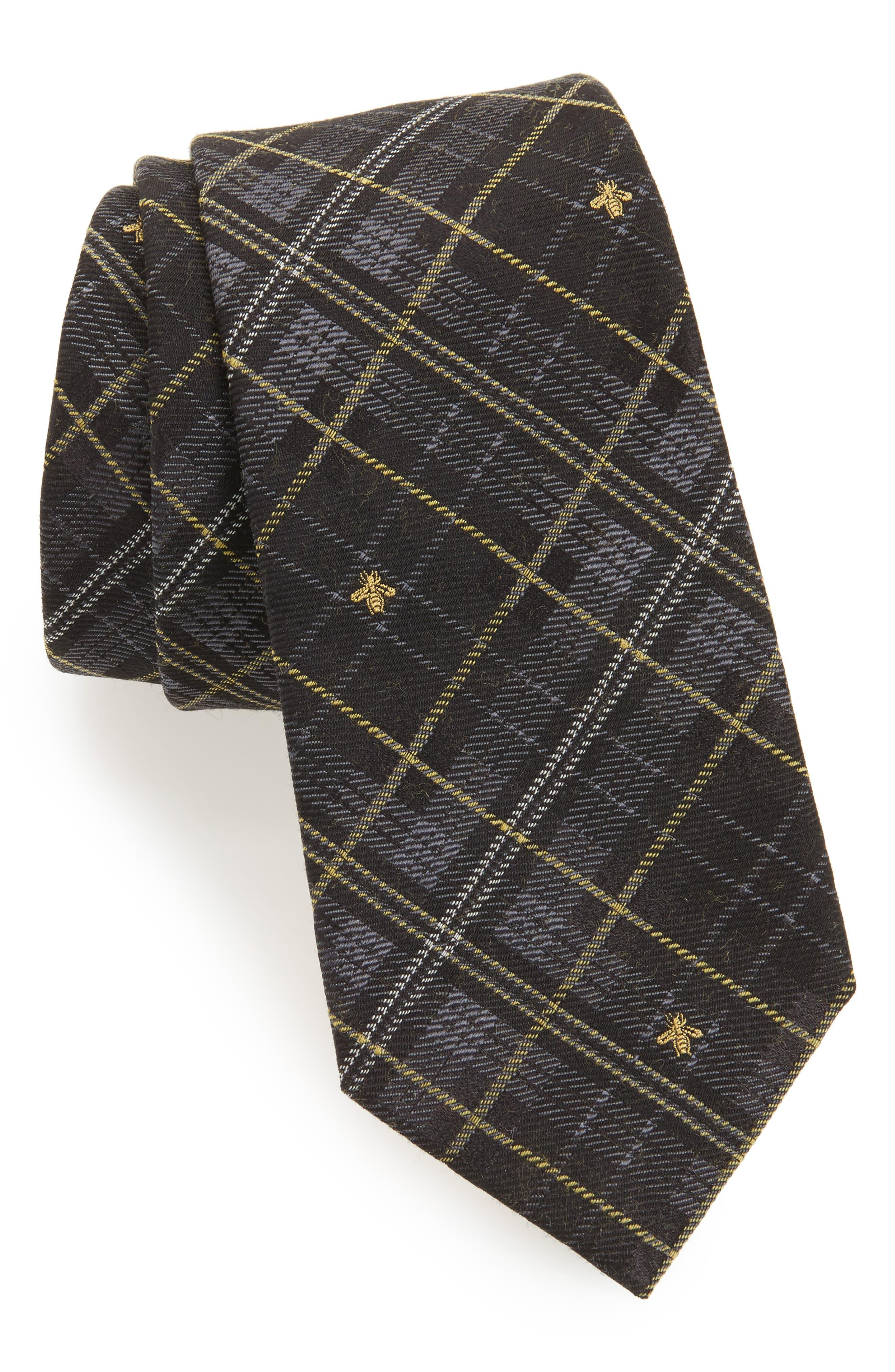 Main Image - Gucci Kilt Bee Plaid Jacquard Tie