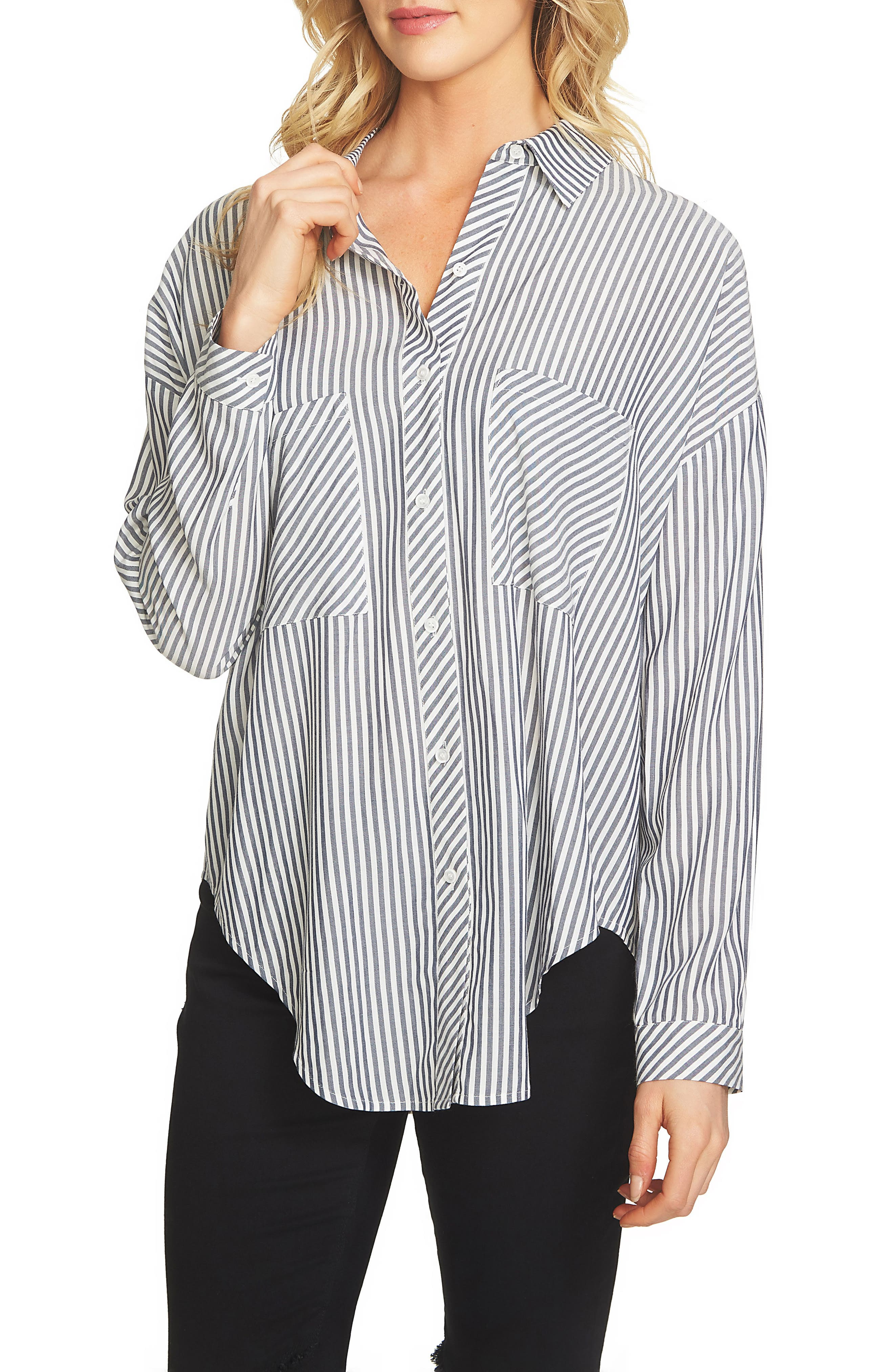 1.STATE Split High/Low Hem Blouse