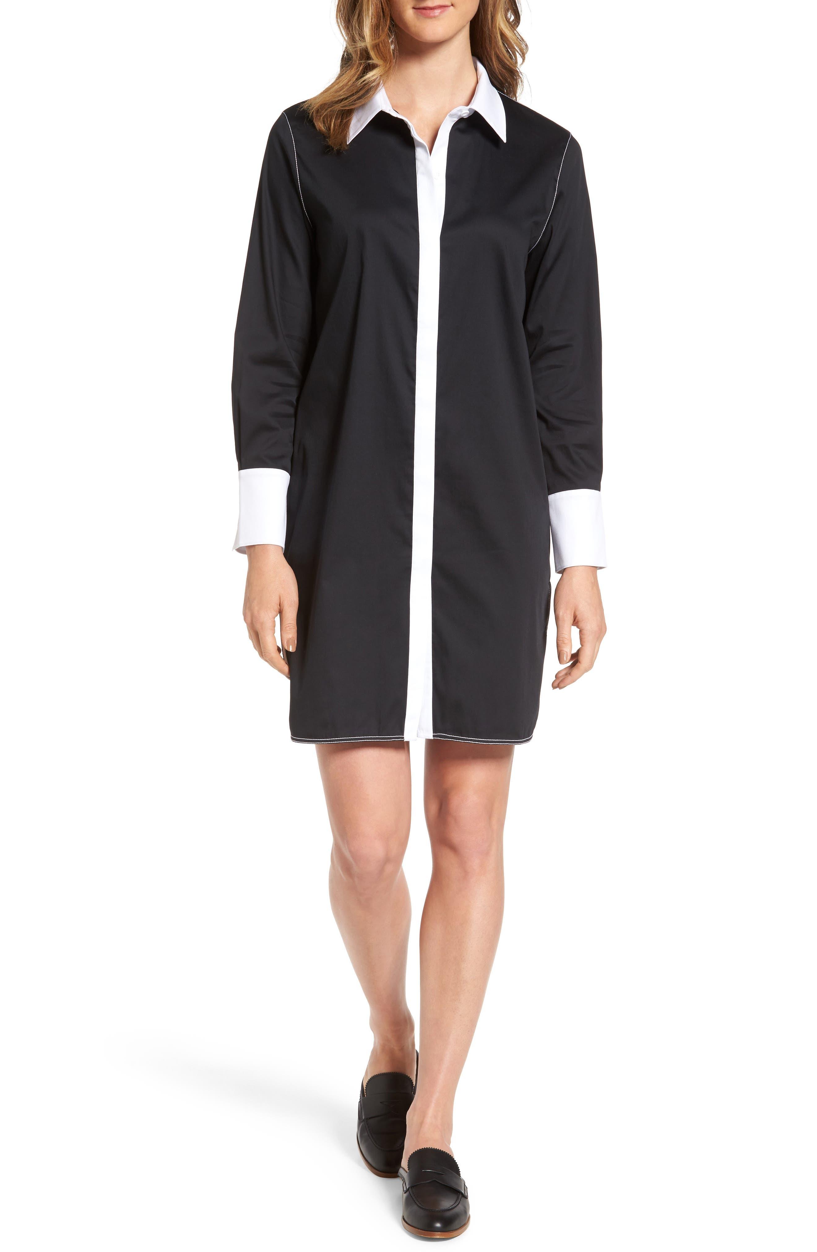 Contrast Trim Shirtdress,                         Main,                         color, Black/ White
