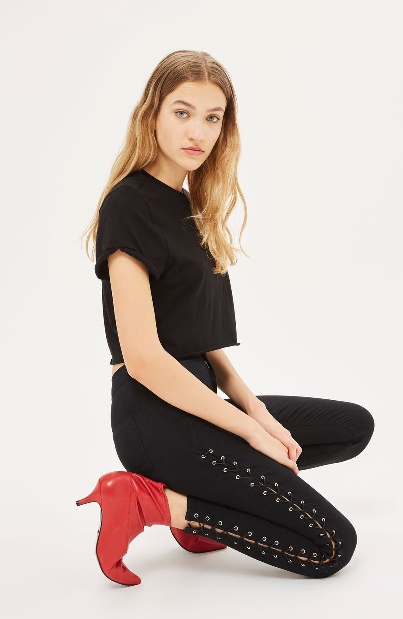 Main Image - Topshop Joni Side Lace-Up Ankle Skinny Jeans