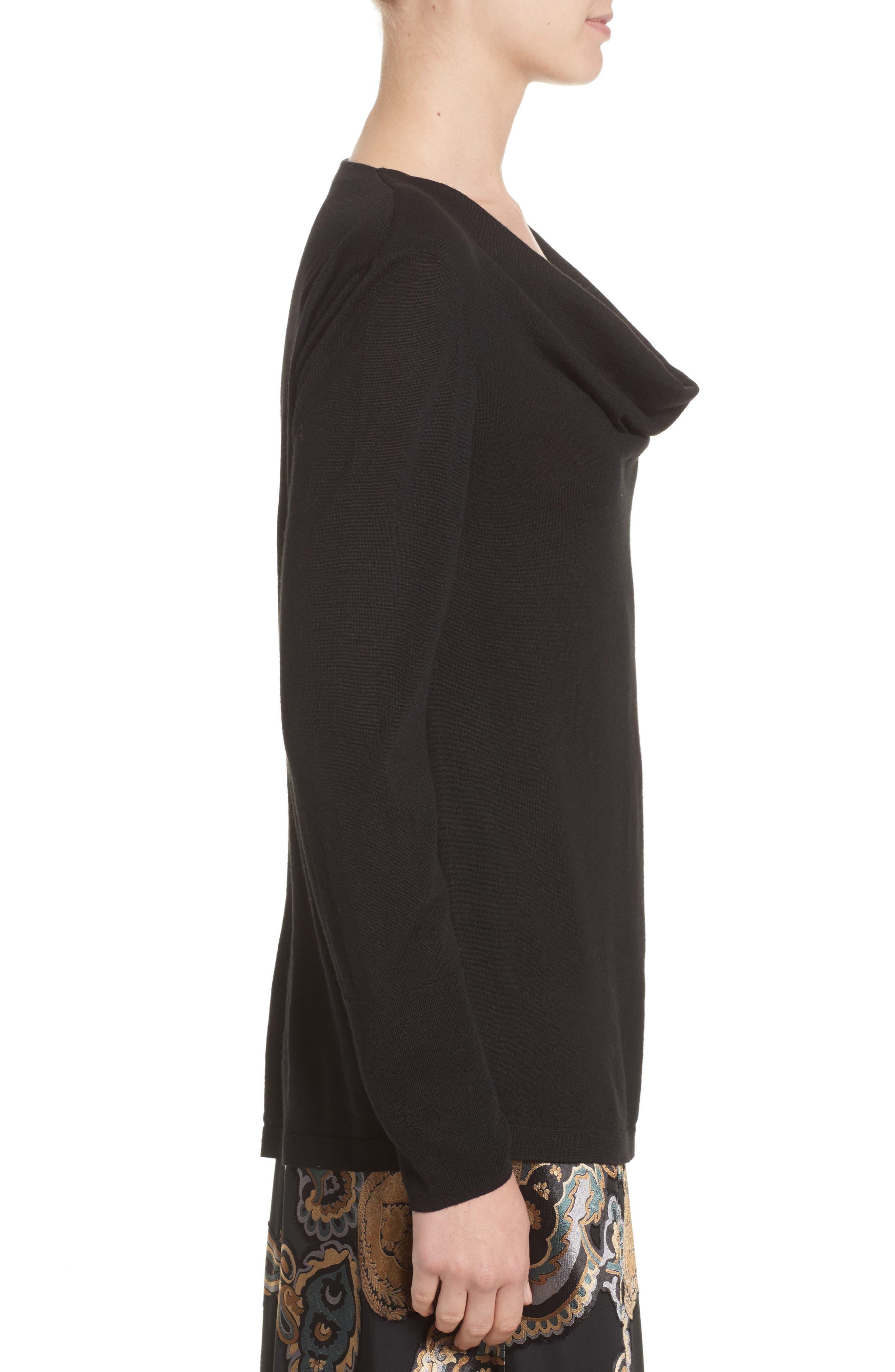 Asymmetrical Cowl Neck Sweater,                             Alternate thumbnail 3, color,                             Black
