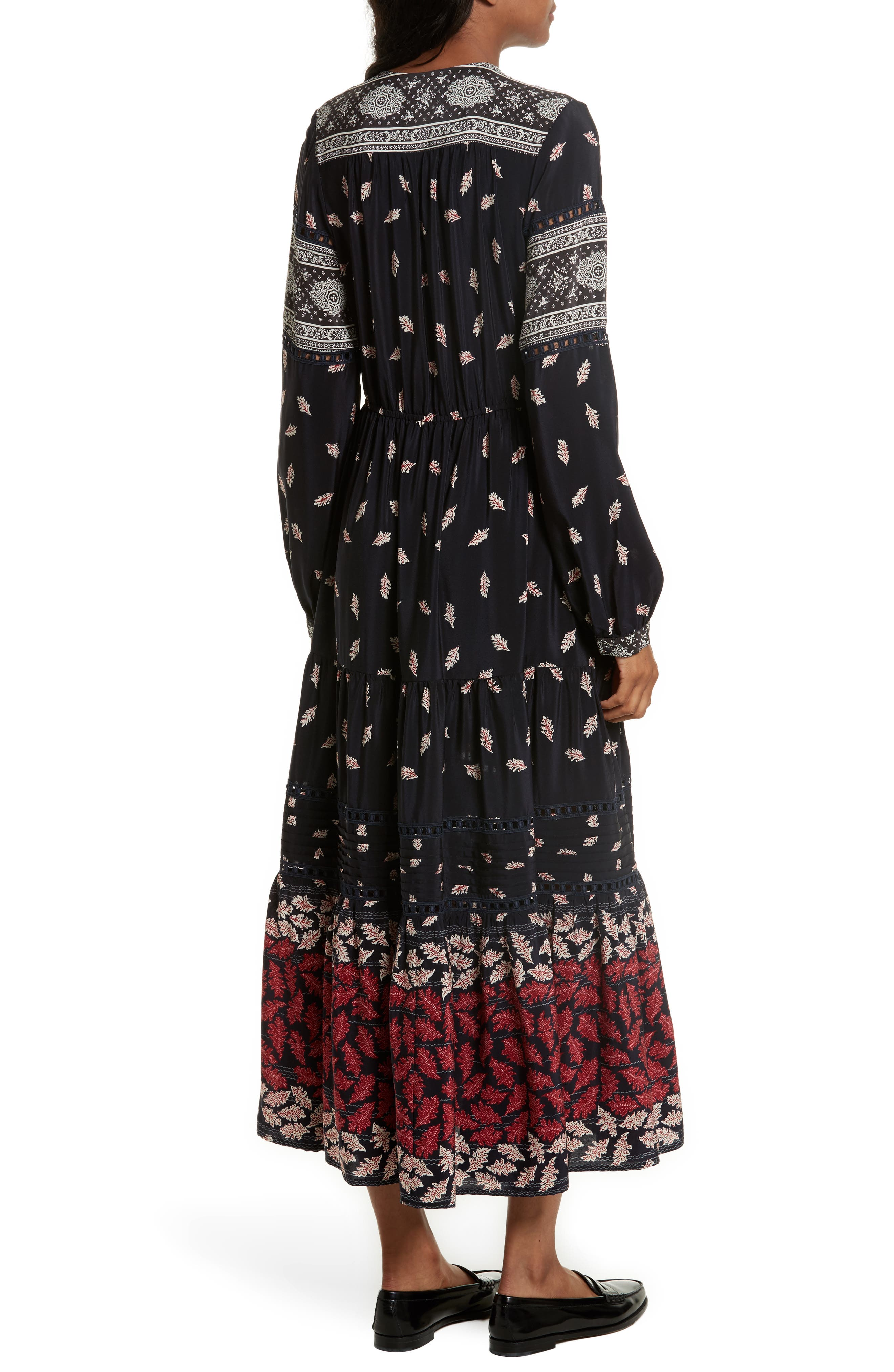 Eloise Print Silk Maxi Dress,                             Alternate thumbnail 2, color,                             Navy/ Red/ Cream Multi