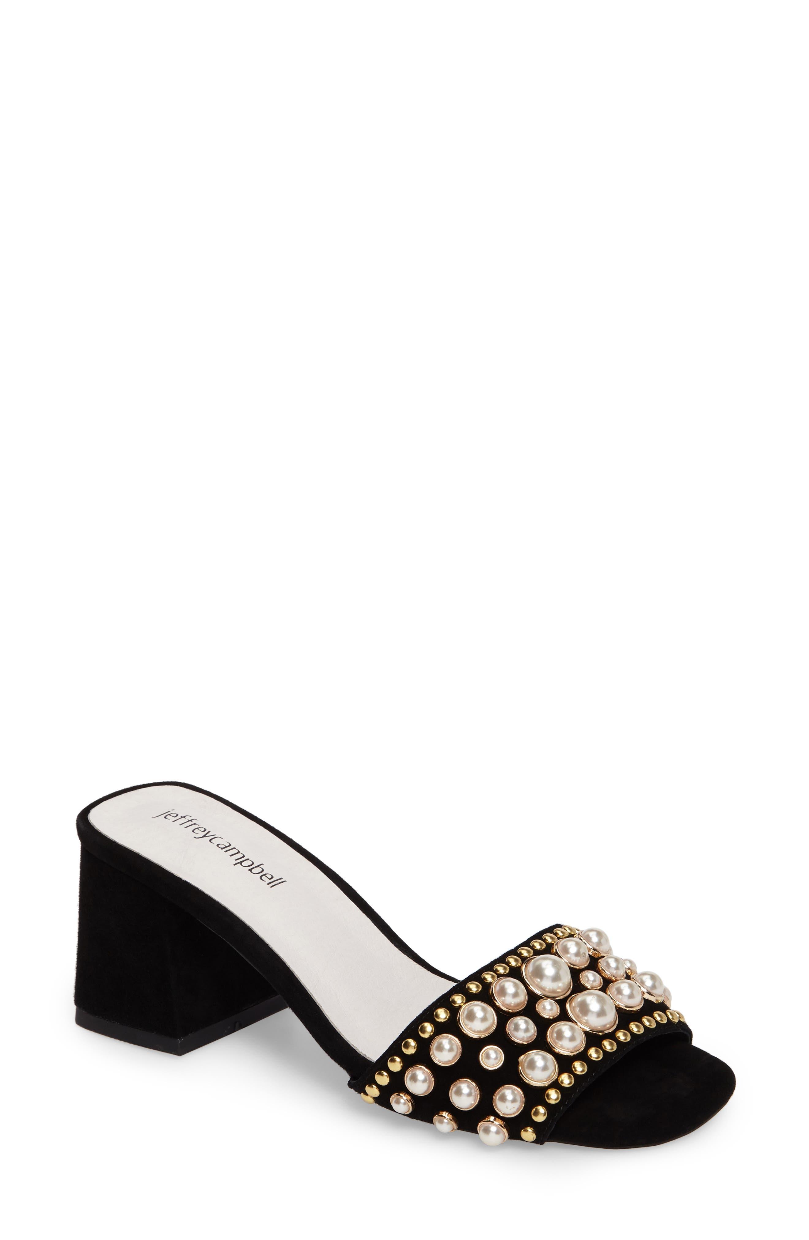 Parr Embellished Slide Sandal,                             Main thumbnail 1, color,                             Black Suede