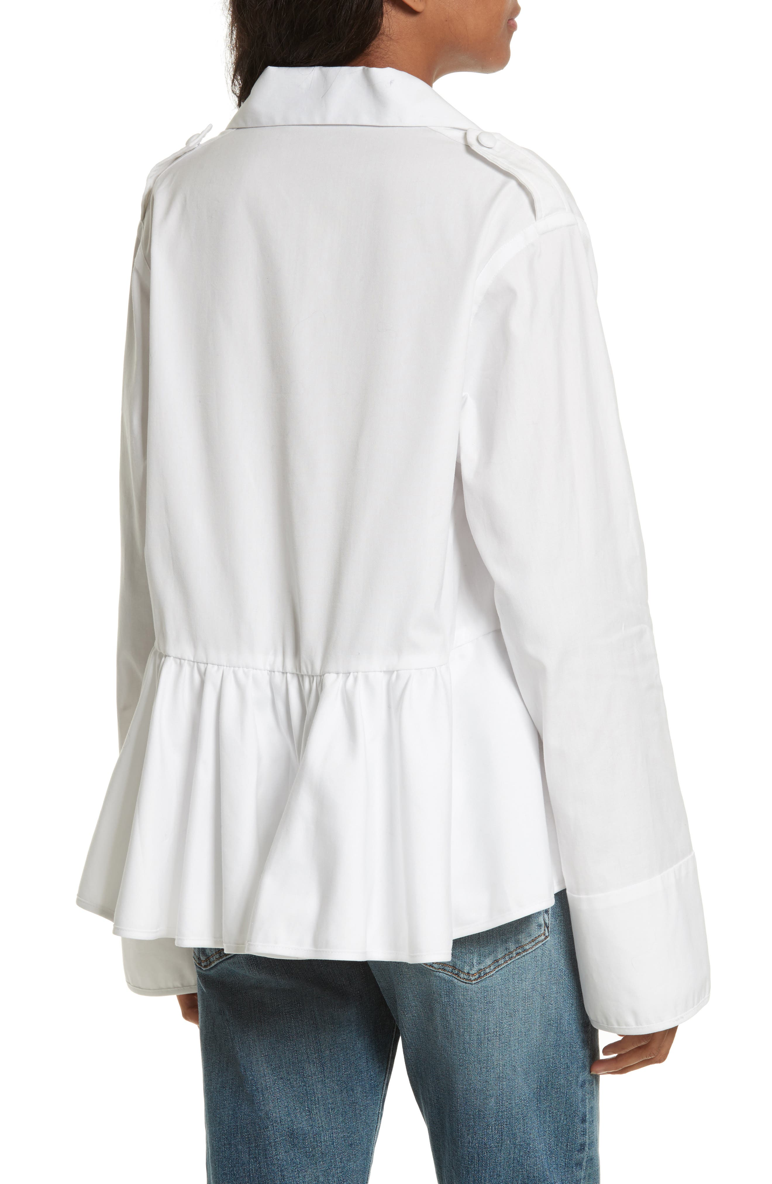Alternate Image 2  - Harvey Faircloth Cotton Oxford Peplum Blouse