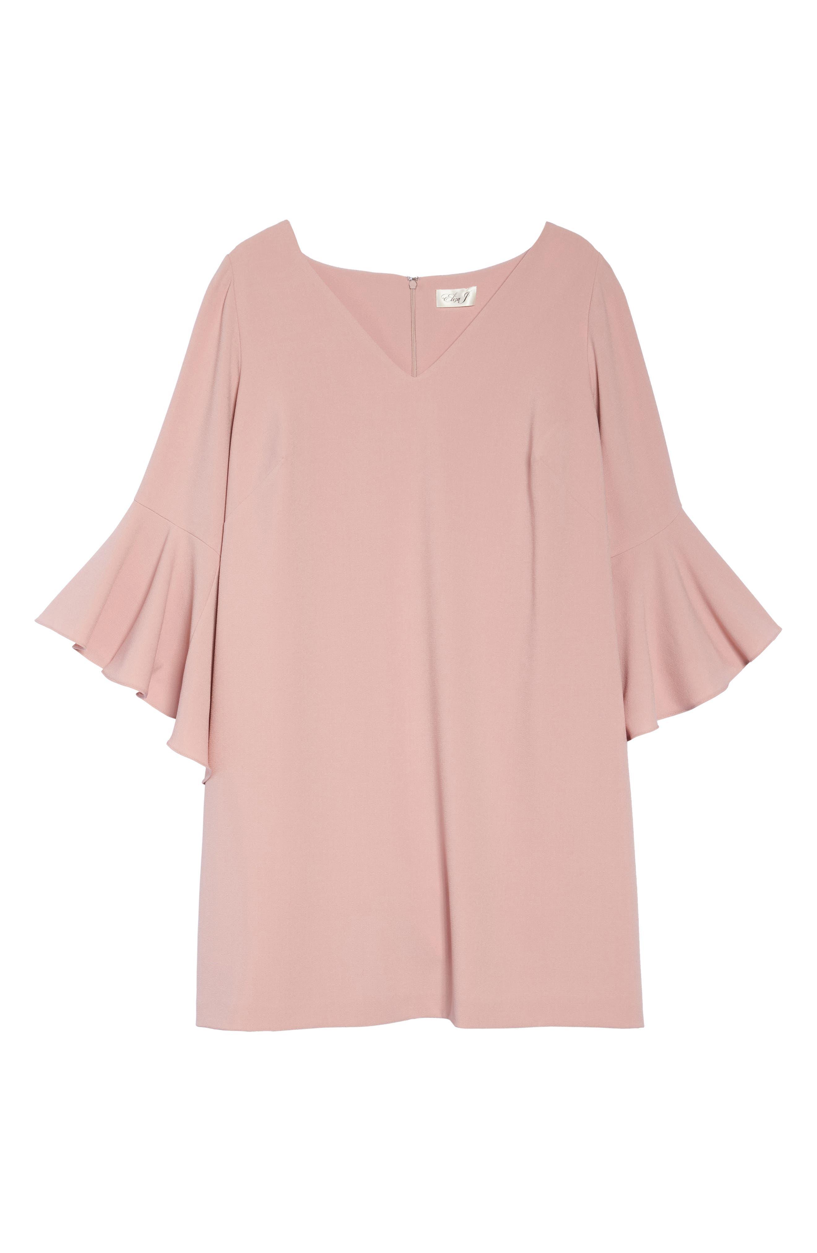 Bell Sleeve Crepe Shift Dress,                             Alternate thumbnail 3, color,                             Blush