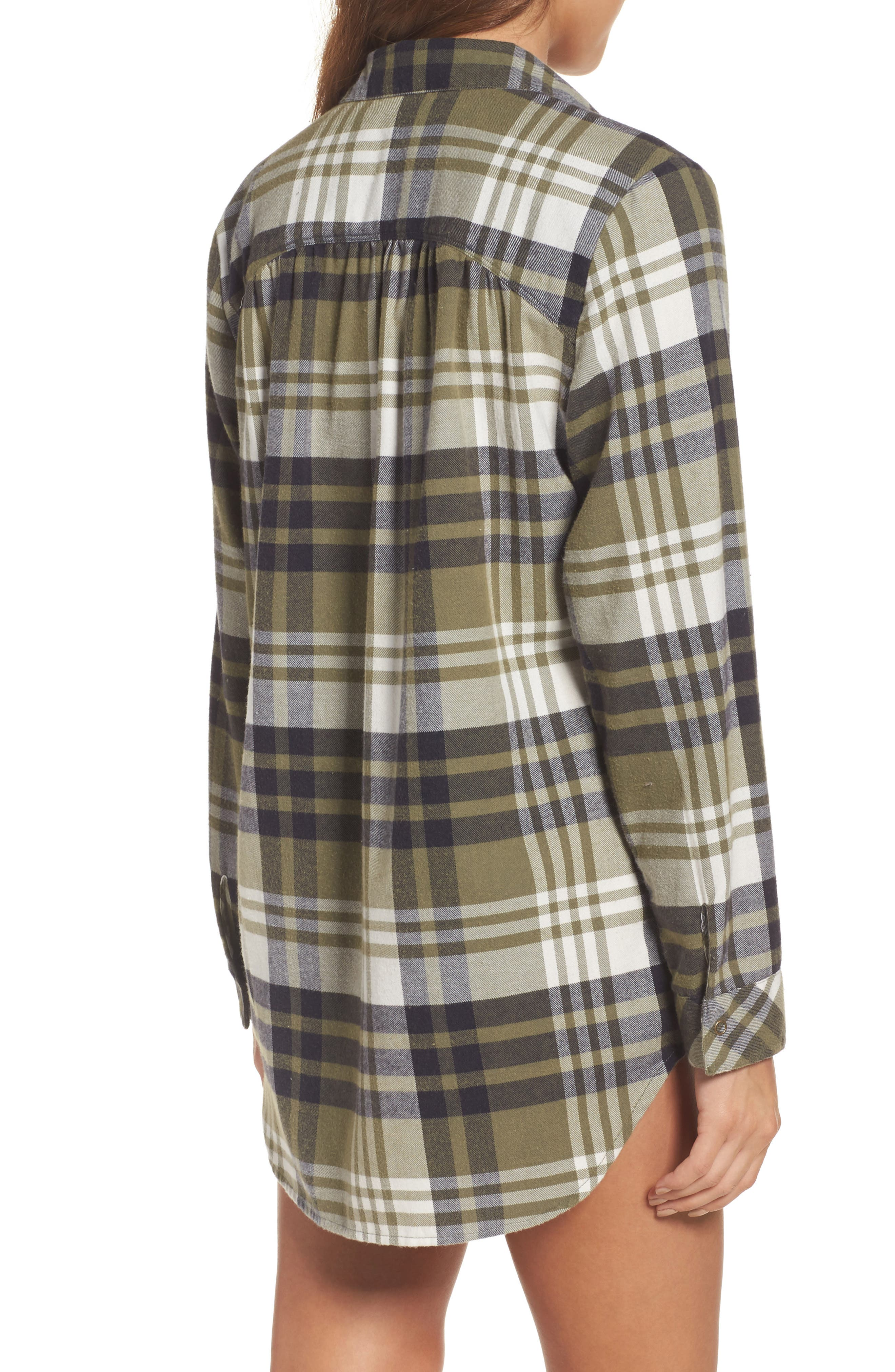 Alternate Image 2  - Make + Model Plaid Cotton Blend Nightshirt