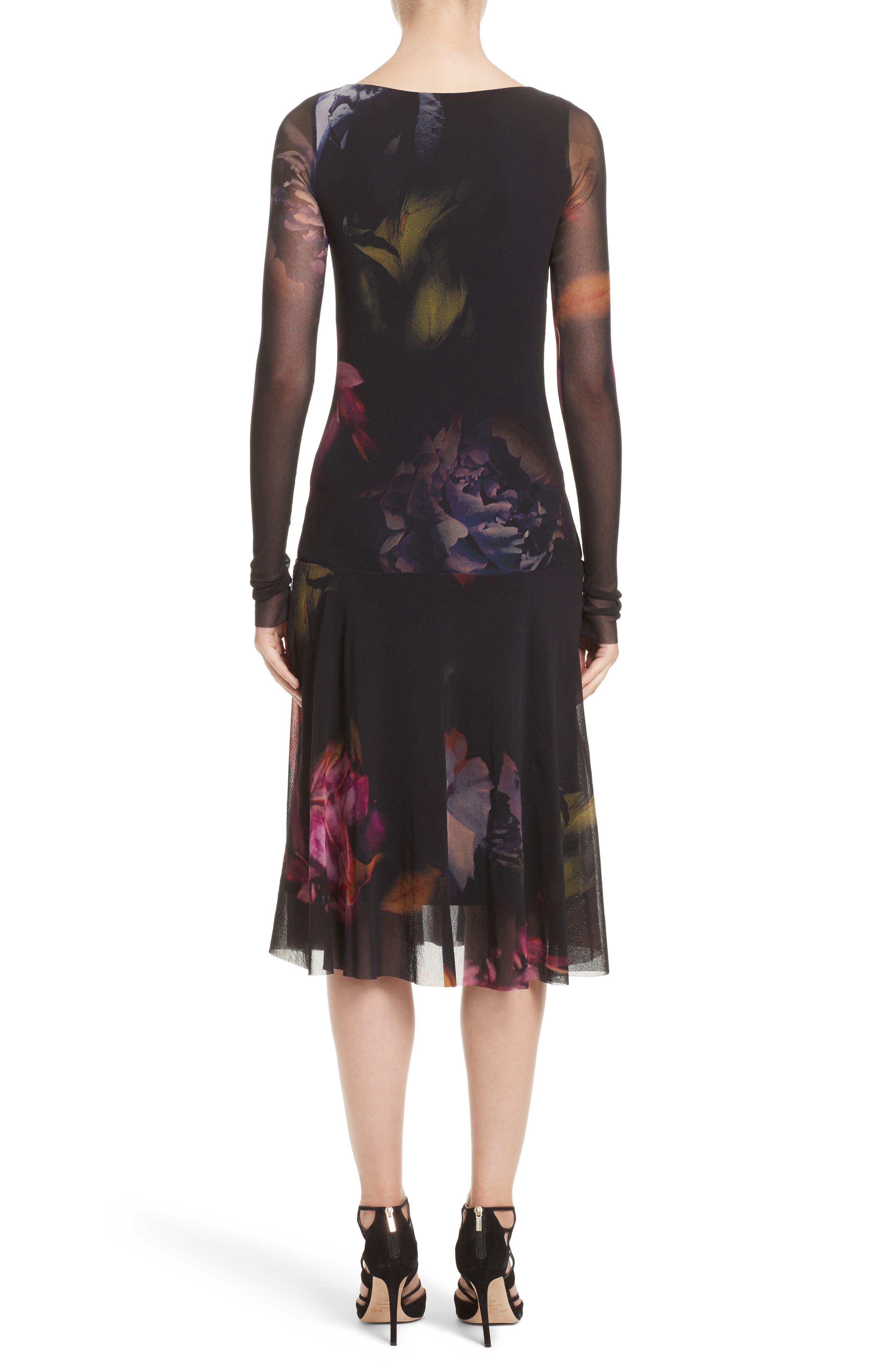 Alternate Image 2  - Fuzzi Floral Print Tulle Drop Waist Midi Dress