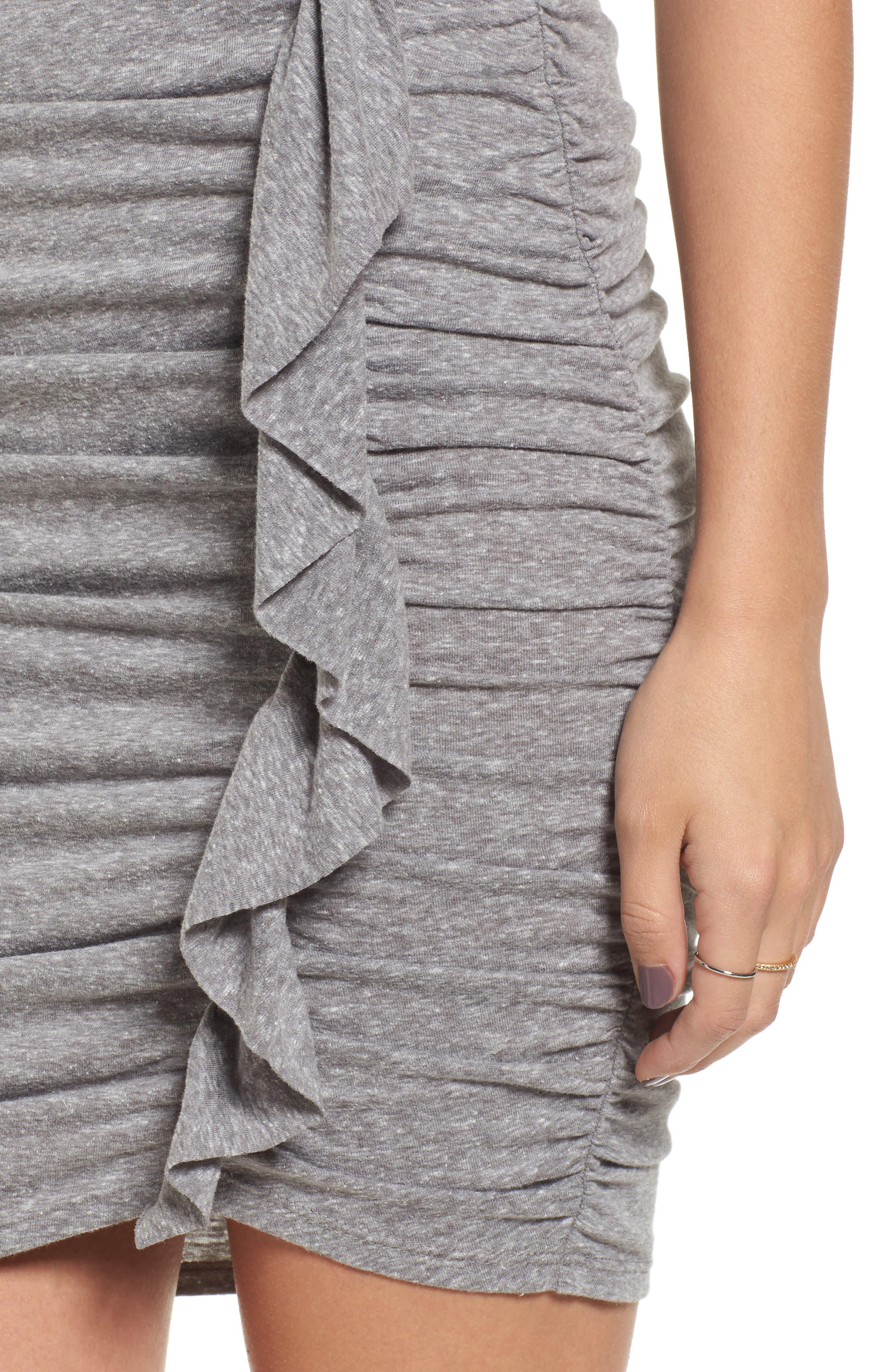 Gathered Front Body-Con Dress,                             Alternate thumbnail 4, color,                             004 H. Grey