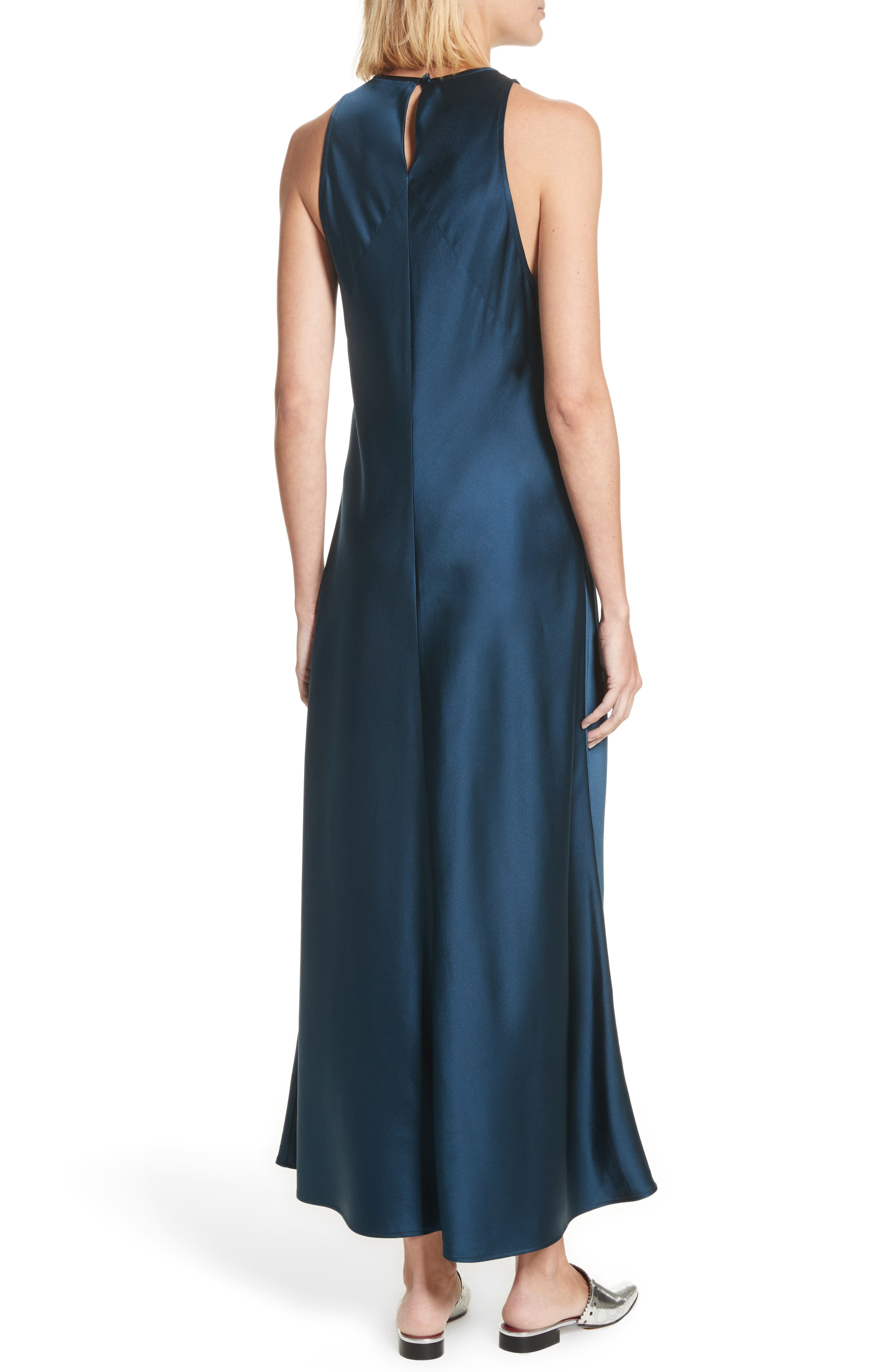 Mikel Stretch Silk Midi Dress,                             Alternate thumbnail 2, color,                             Admiral