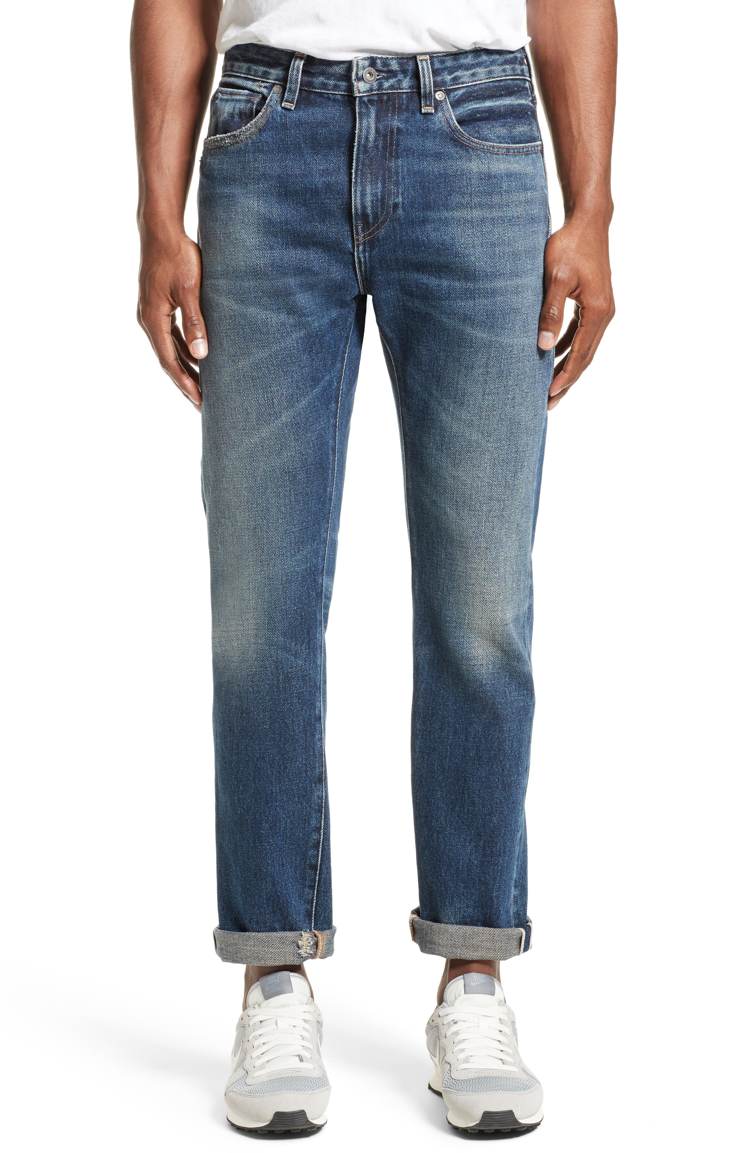 Tack Slim Fit Jeans,                         Main,                         color, Medium Blue