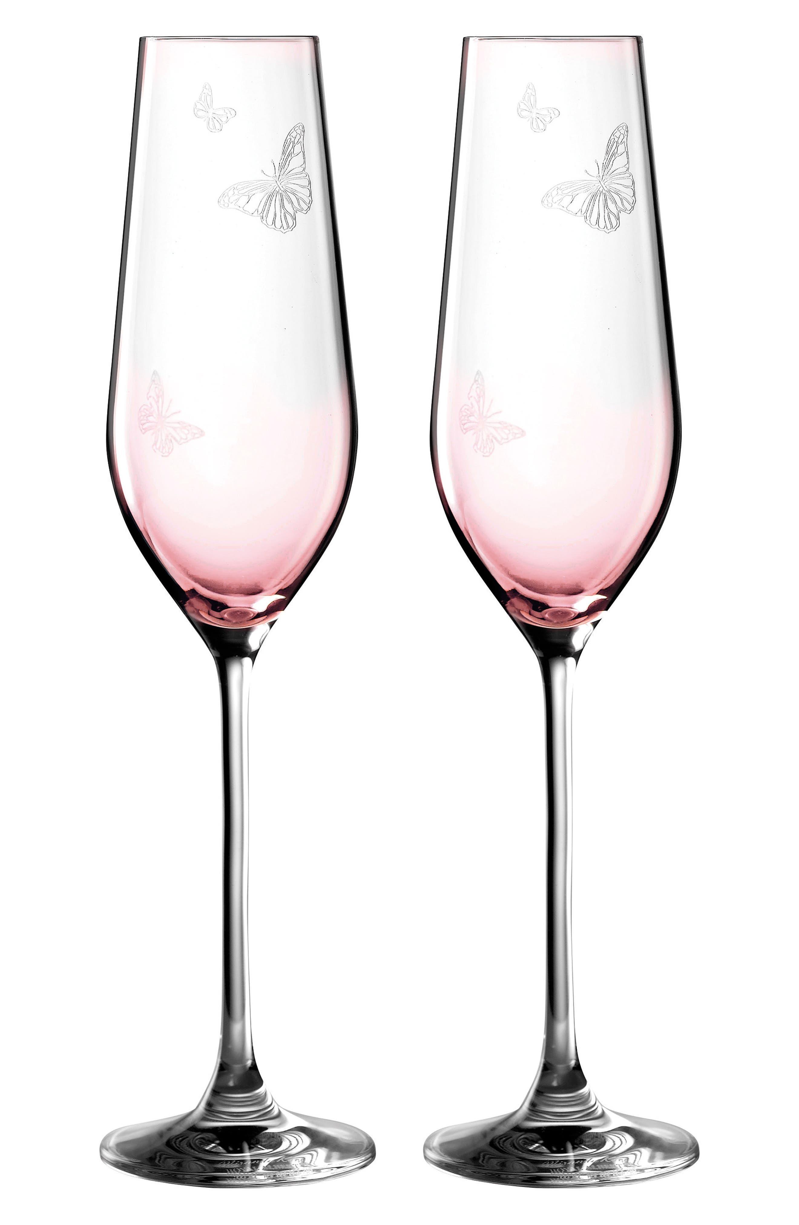 Friendship Set of 2 Champagne Flutes,                         Main,                         color, Pink