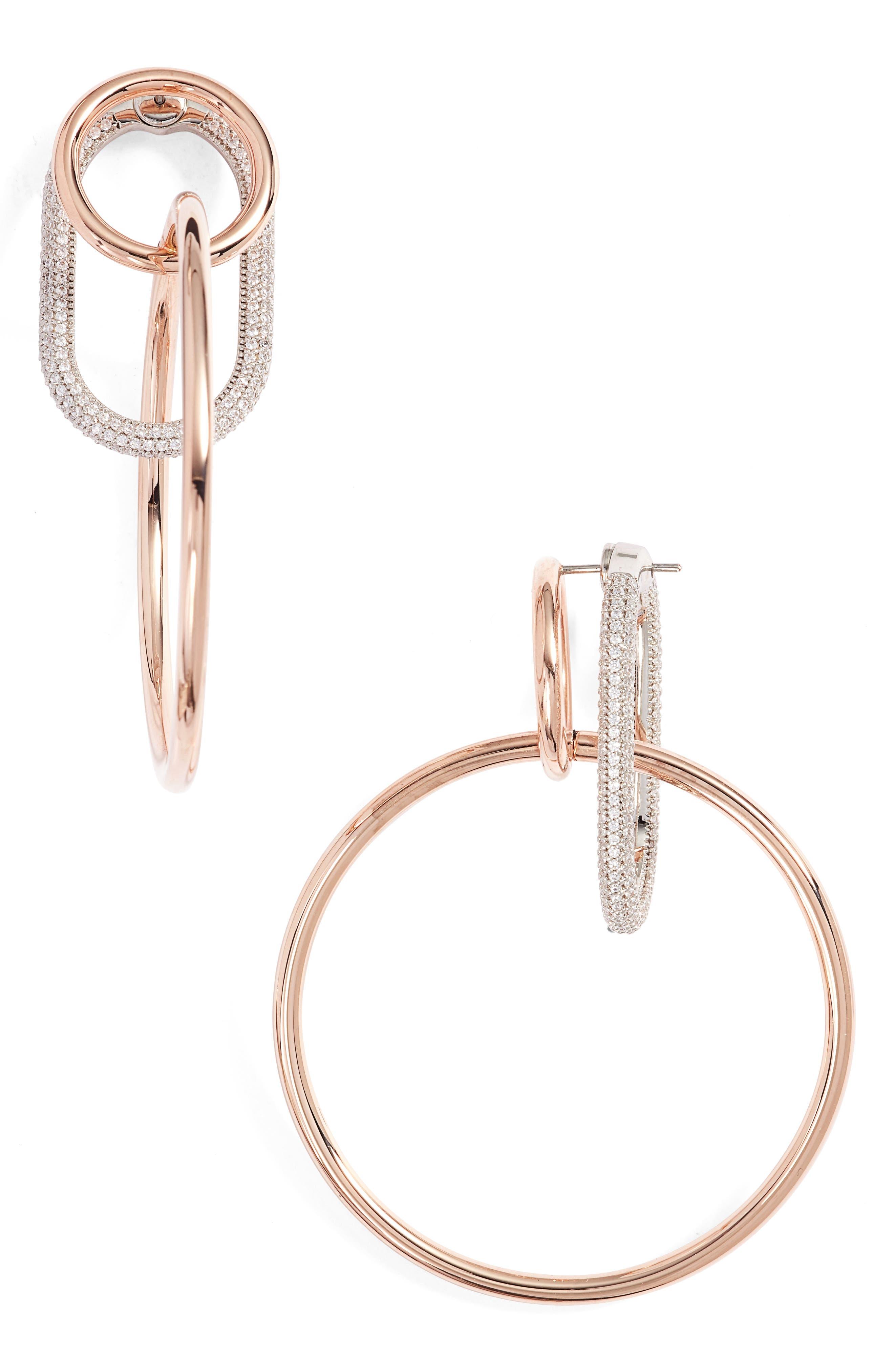 Triple Ring Pavé Earrings,                         Main,                         color, Rose Gold