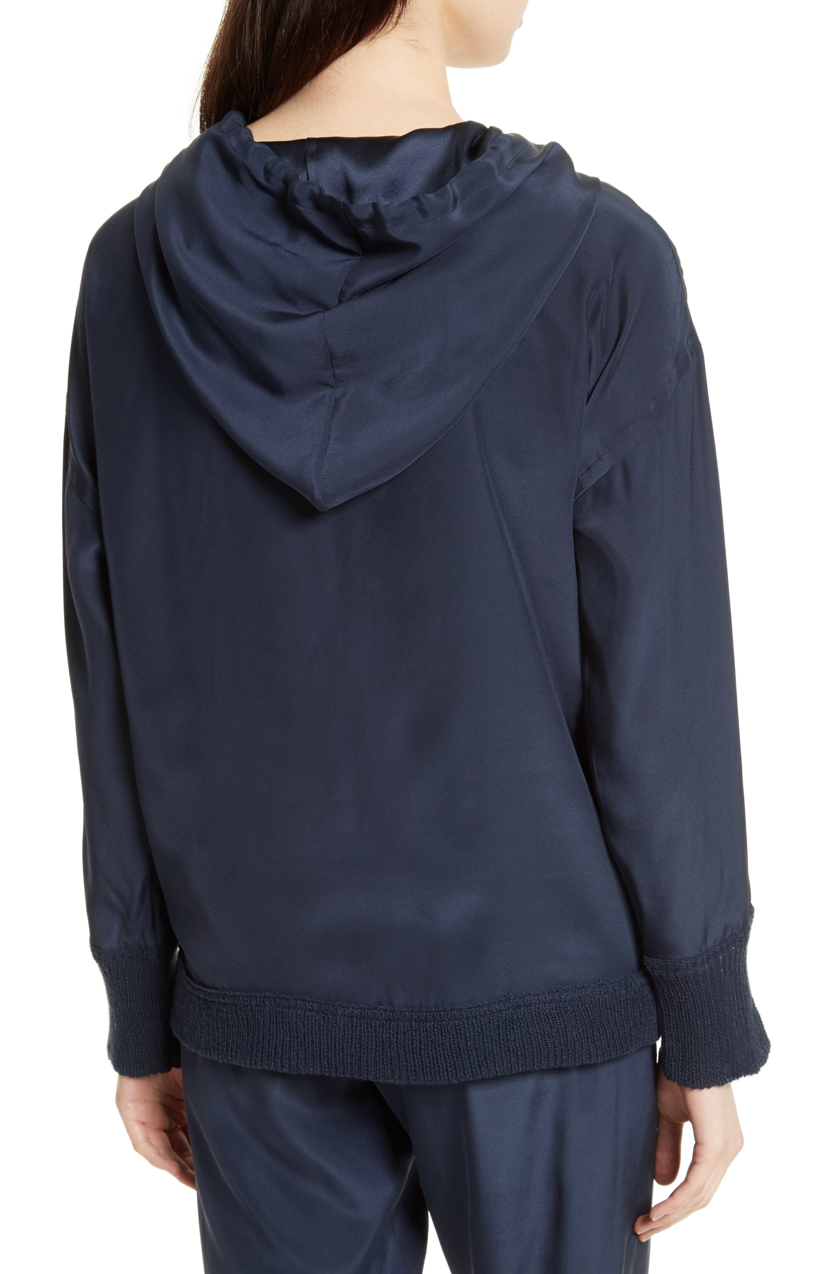 Silk Hoodie,                             Alternate thumbnail 3, color,                             Midnight