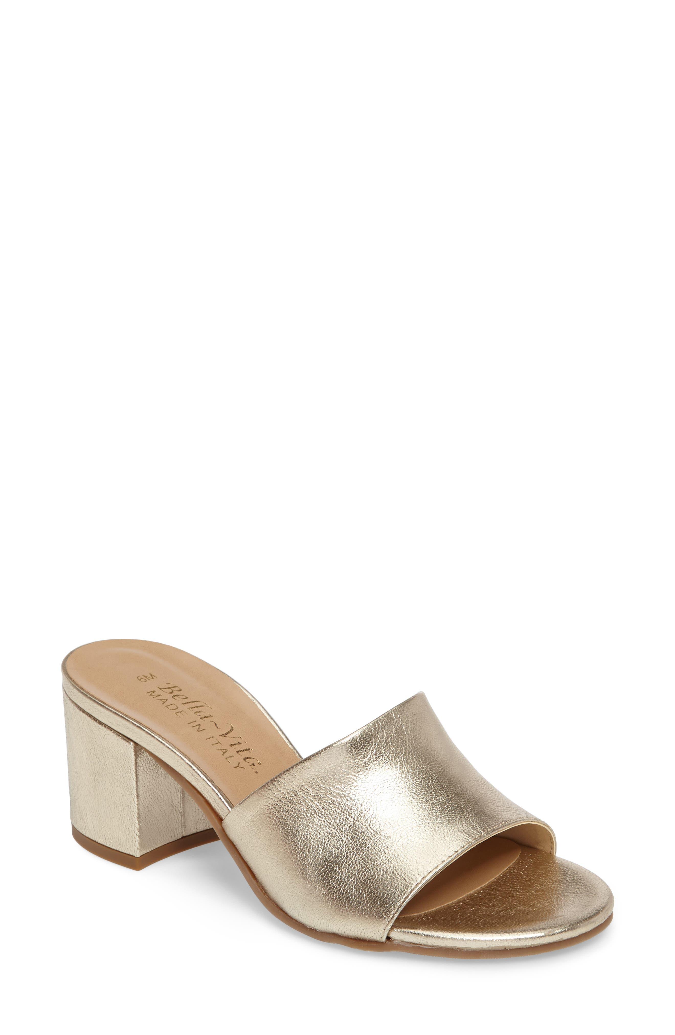 Mel Slide Sandal,                         Main,                         color, Gold Leather