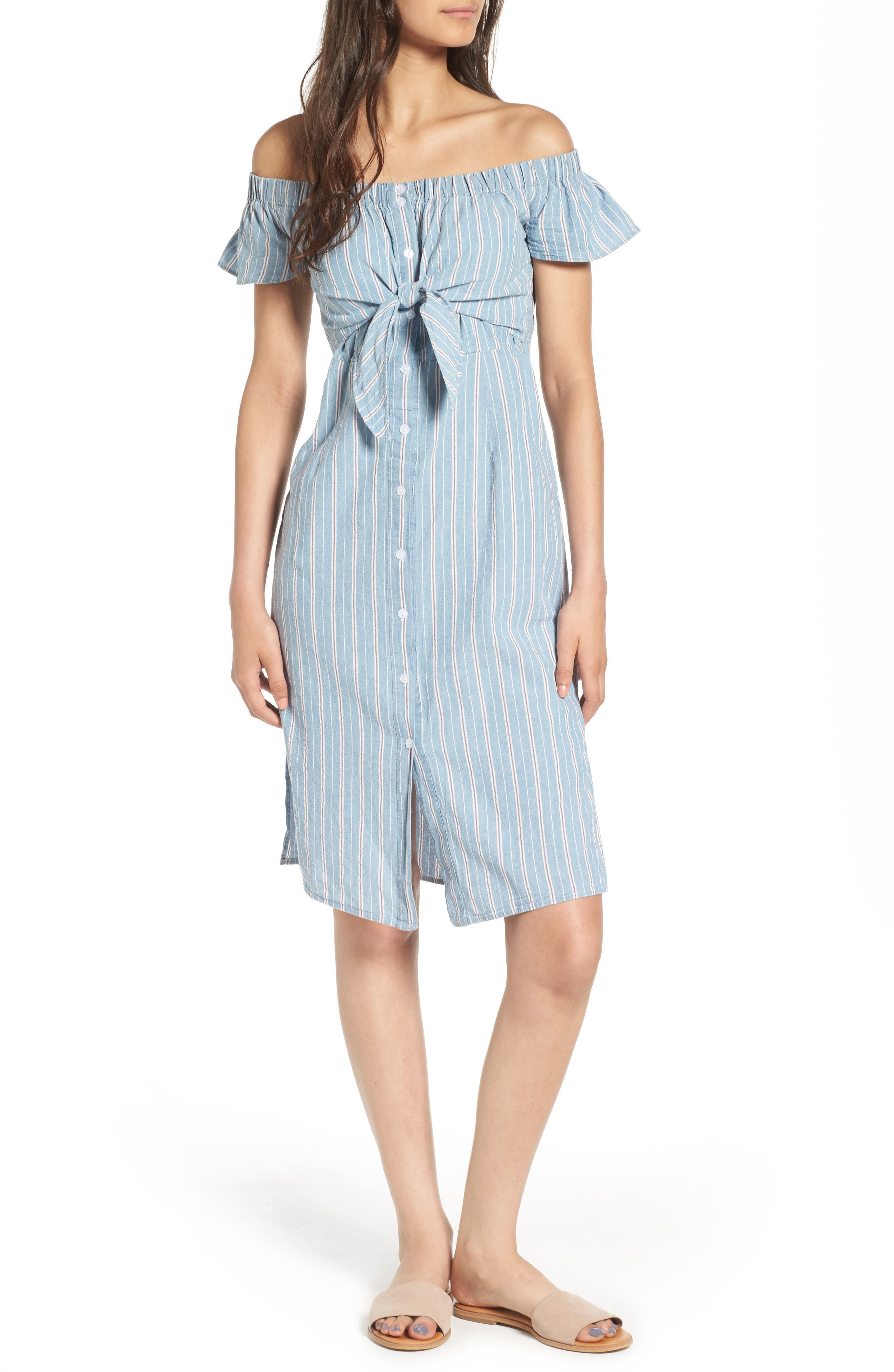 Main Image - Everly Tie Waist Off the Shoulder Dress