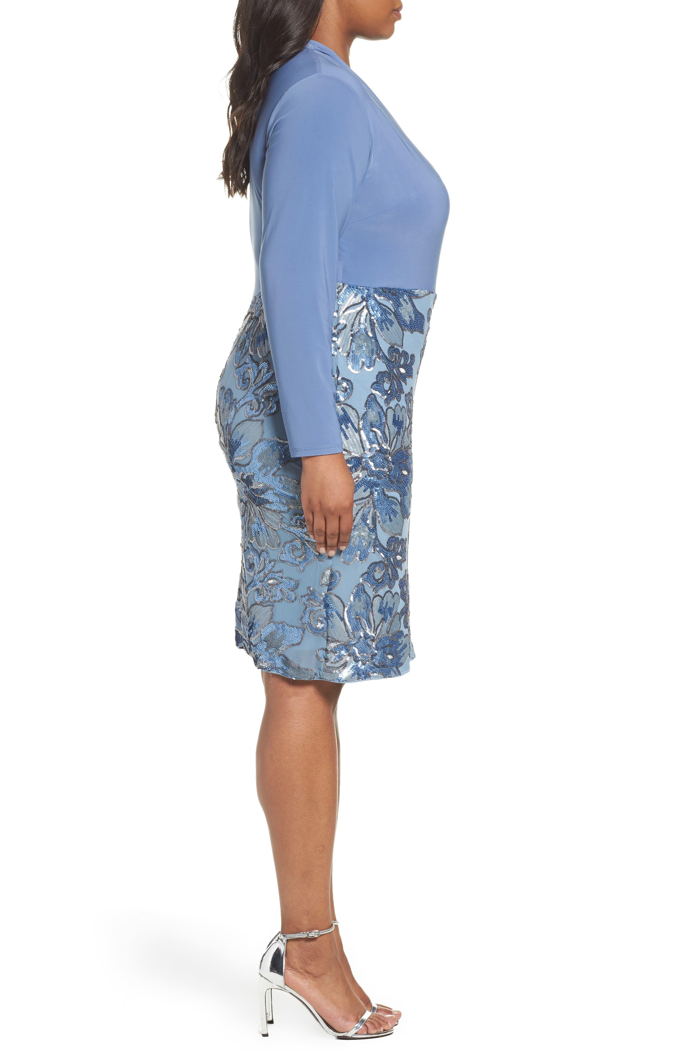 Sequin Faux Wrap Sheath Dress,                             Alternate thumbnail 3, color,                             Periwinkle