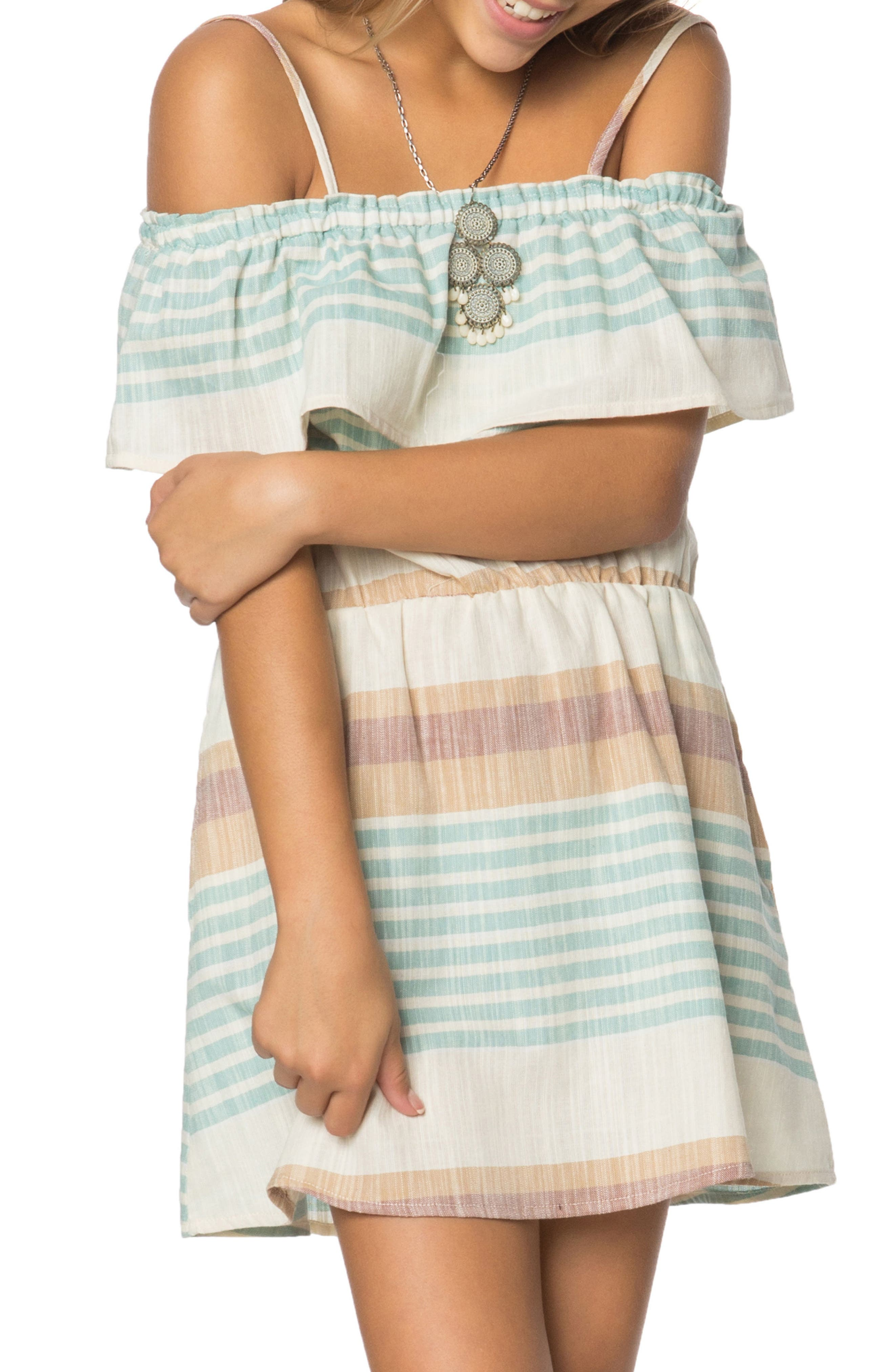 Alternate Image 1 Selected - O'Neill Pier Stripe Off the Shoulder Dress (Big Girls)