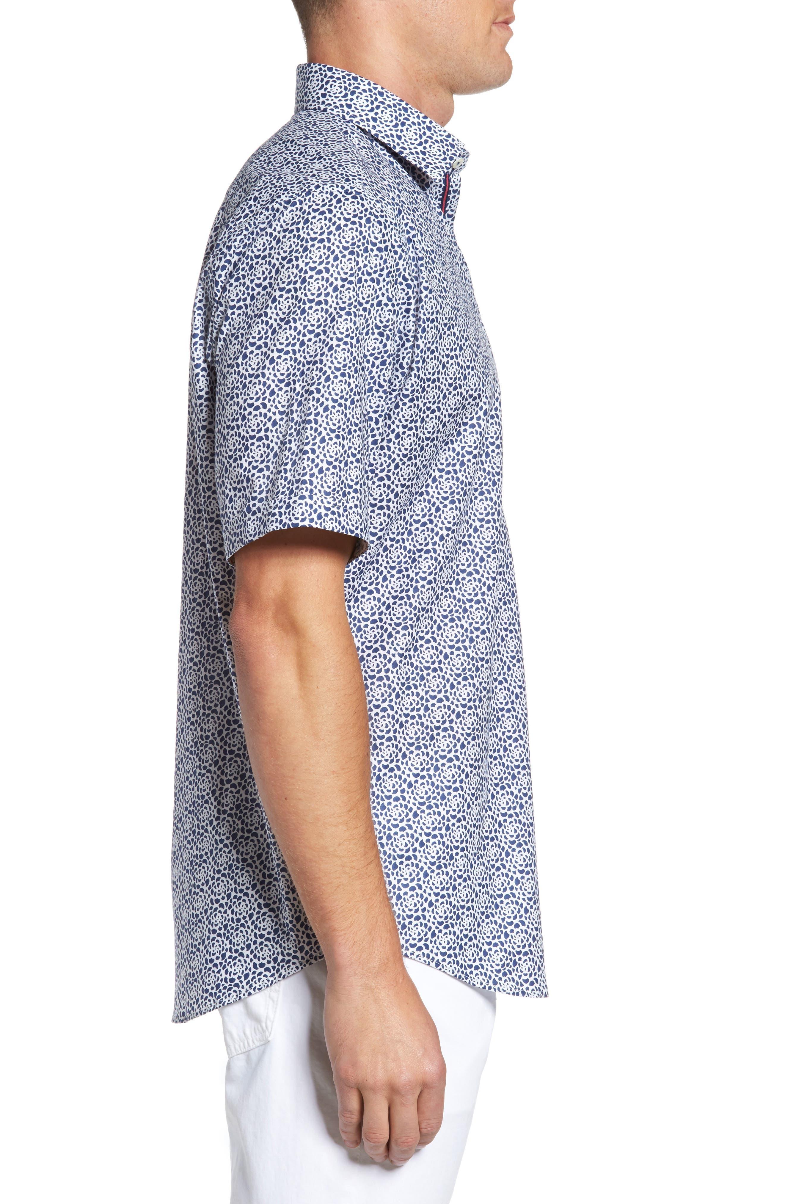 Classic Fit Print Short Sleeve Sport Shirt,                             Alternate thumbnail 3, color,                             Navy