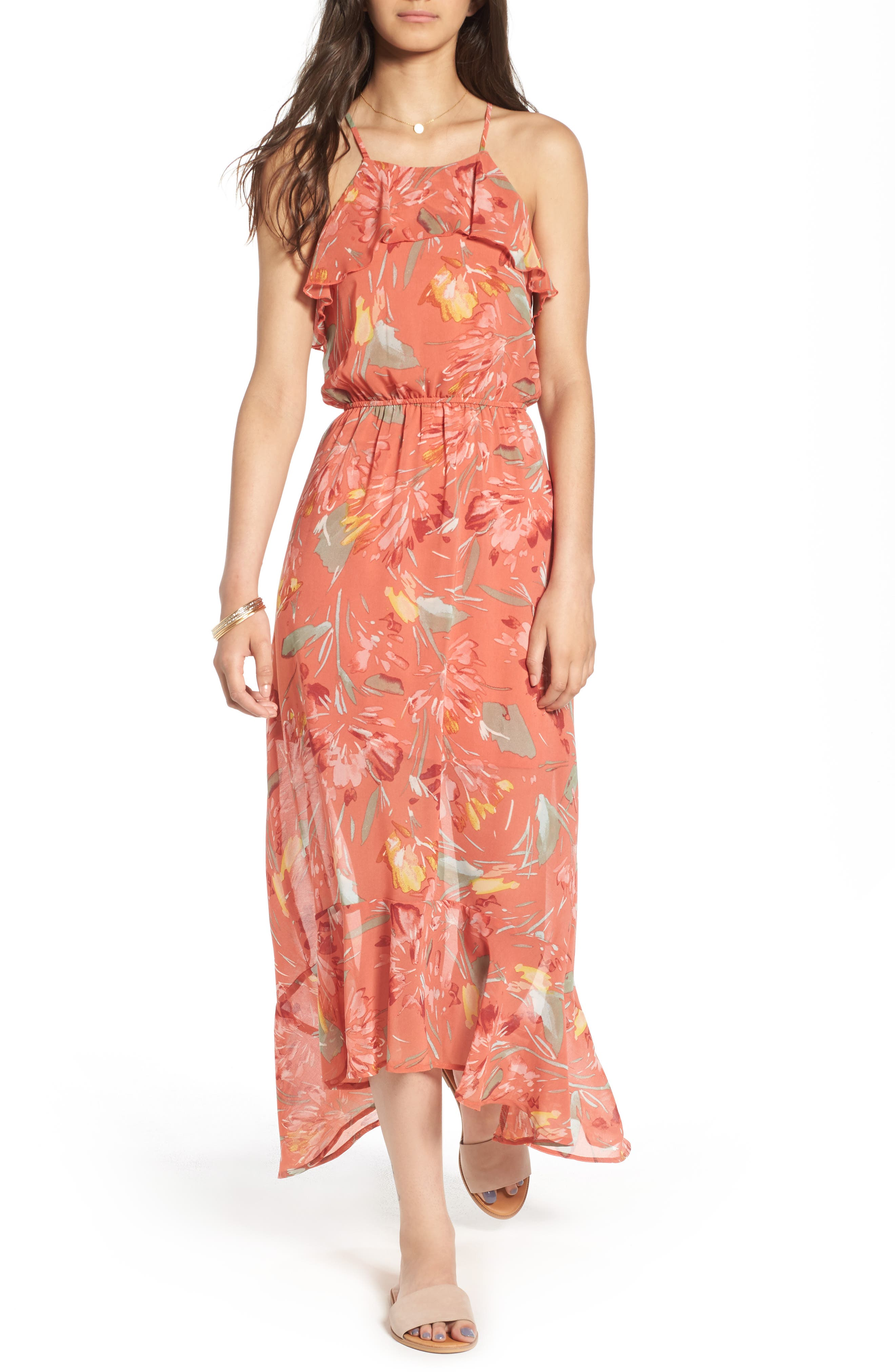 As You Wish Print Ruffle High/Low Maxi Dress