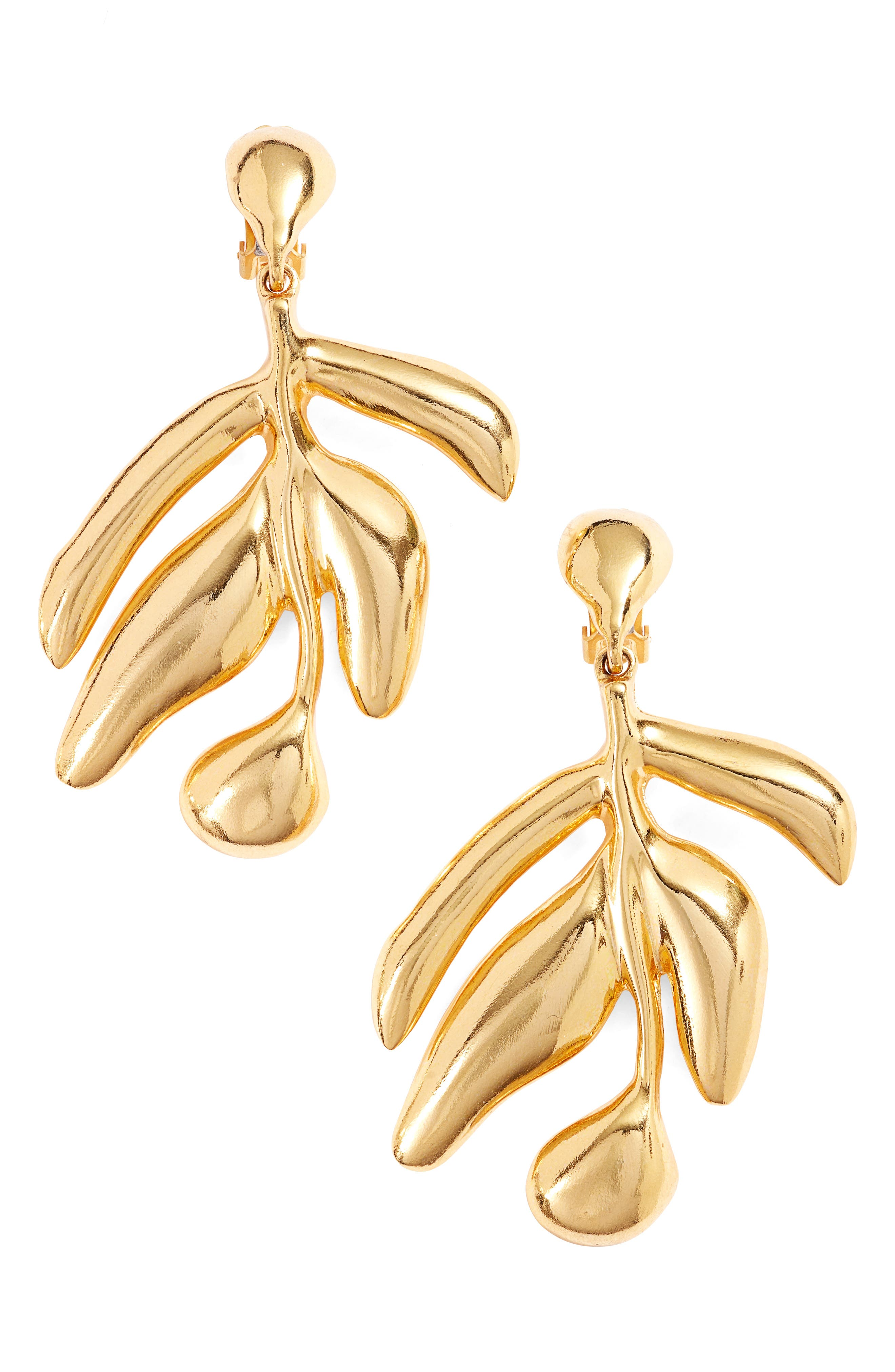 Oscar de la Renta Small Graphic Botanic Earrings