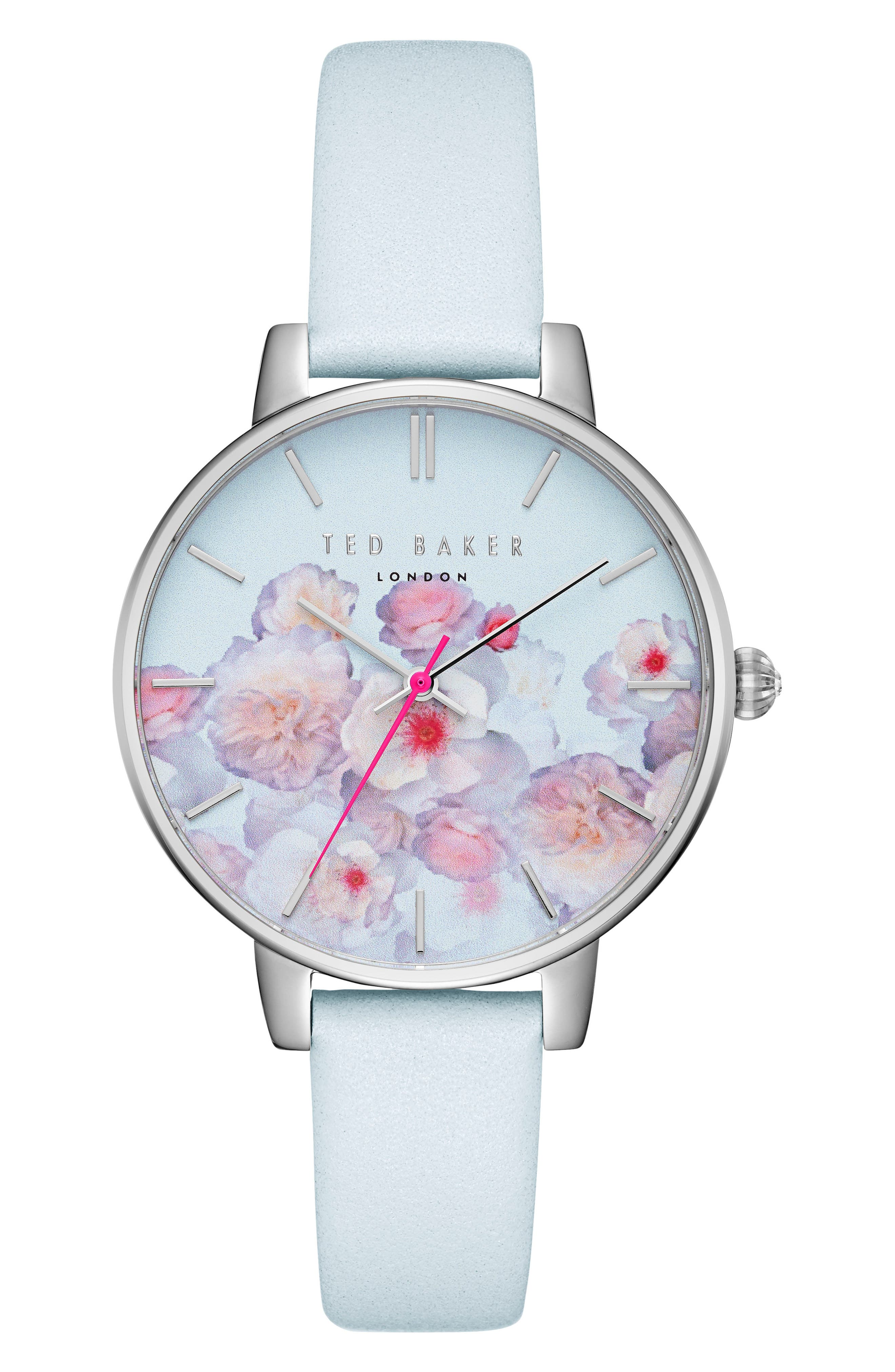 Kate Leather Strap Watch, 38mm,                         Main,                         color, White/ Floral/ Silver