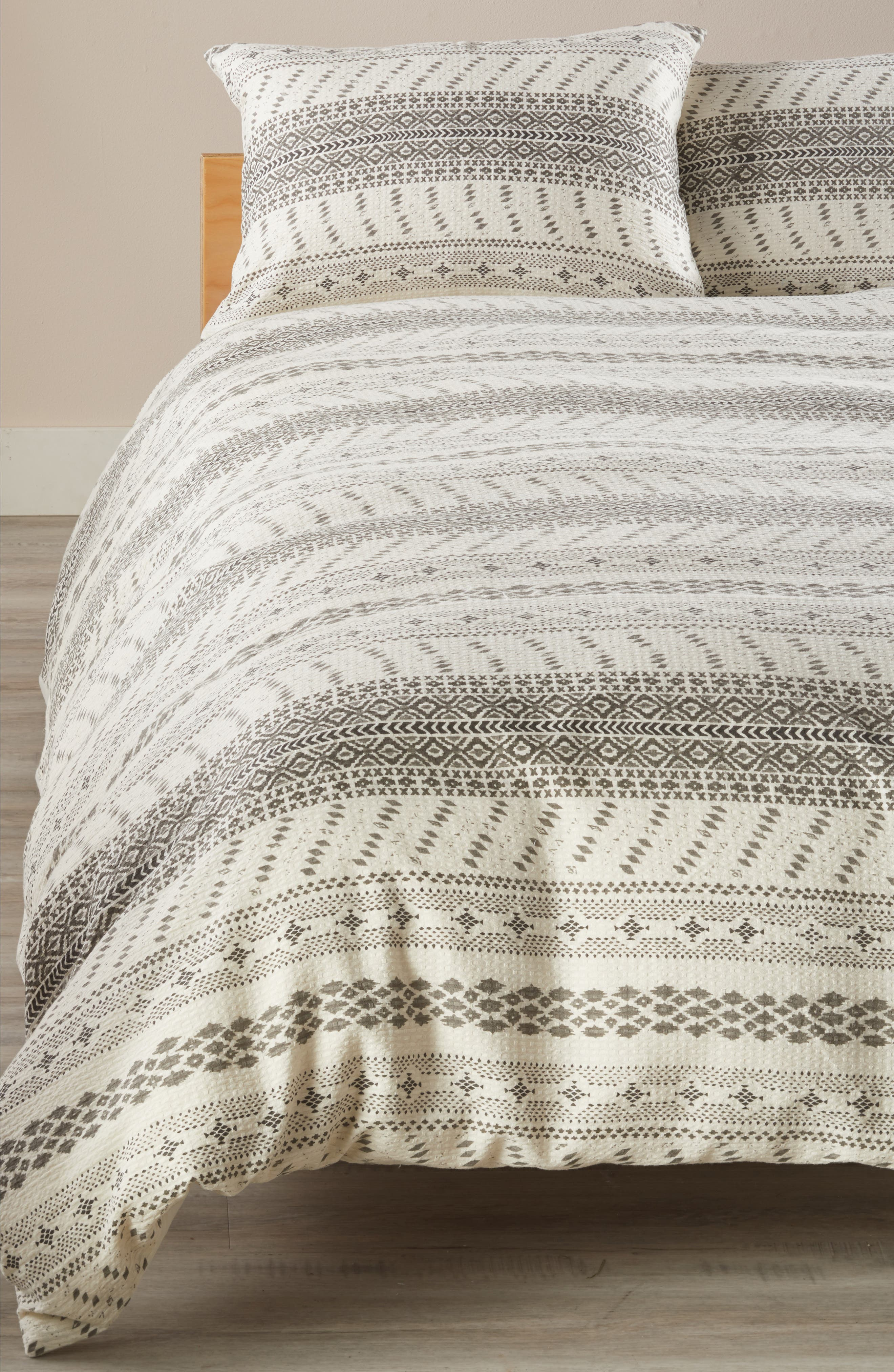 Waffle Print Duvet Cover,                             Main thumbnail 1, color,                             Ivory Dove Multi