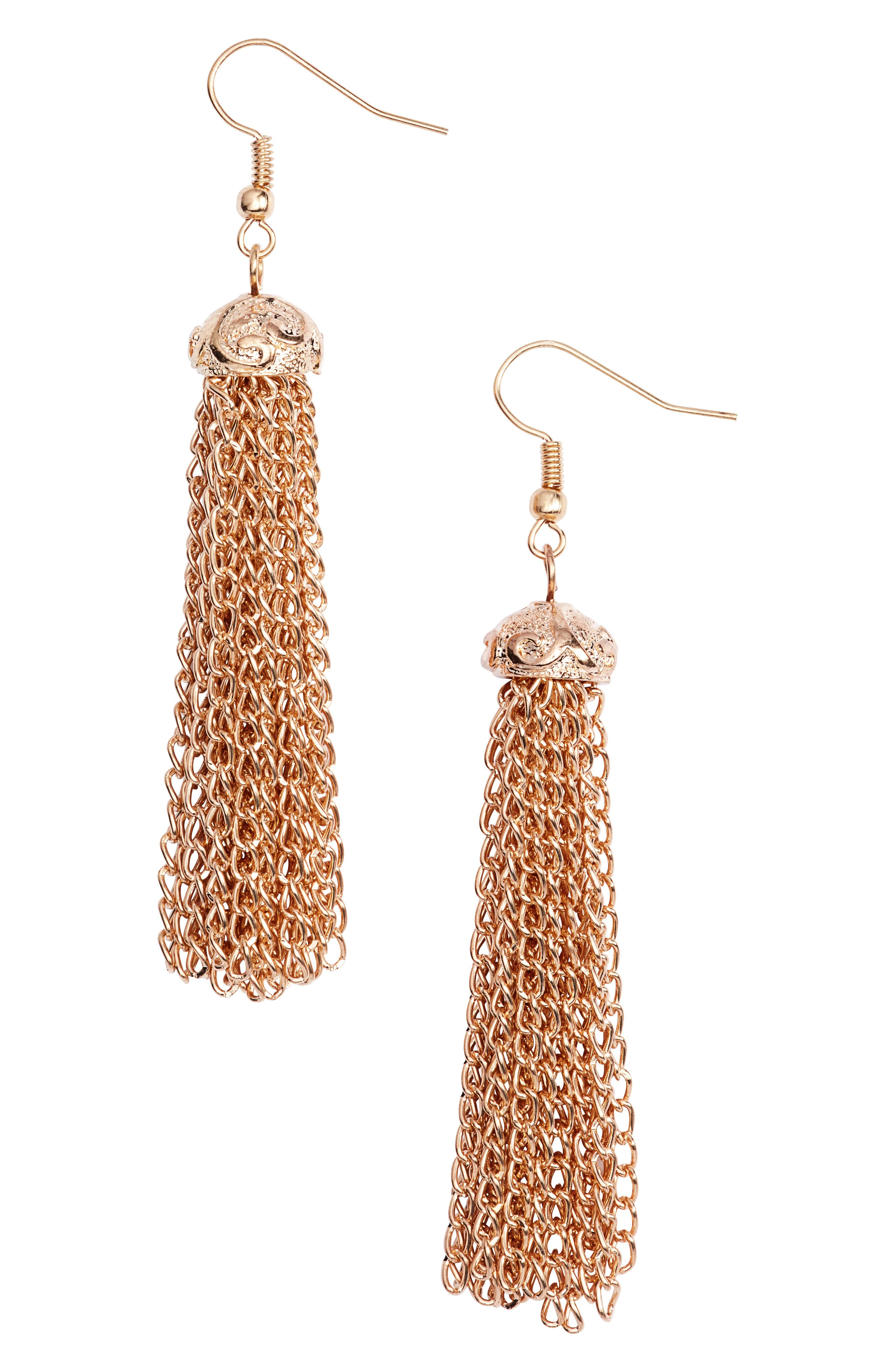 Fortuna Chain Tassel Earrings,                         Main,                         color, Oval/ Gold