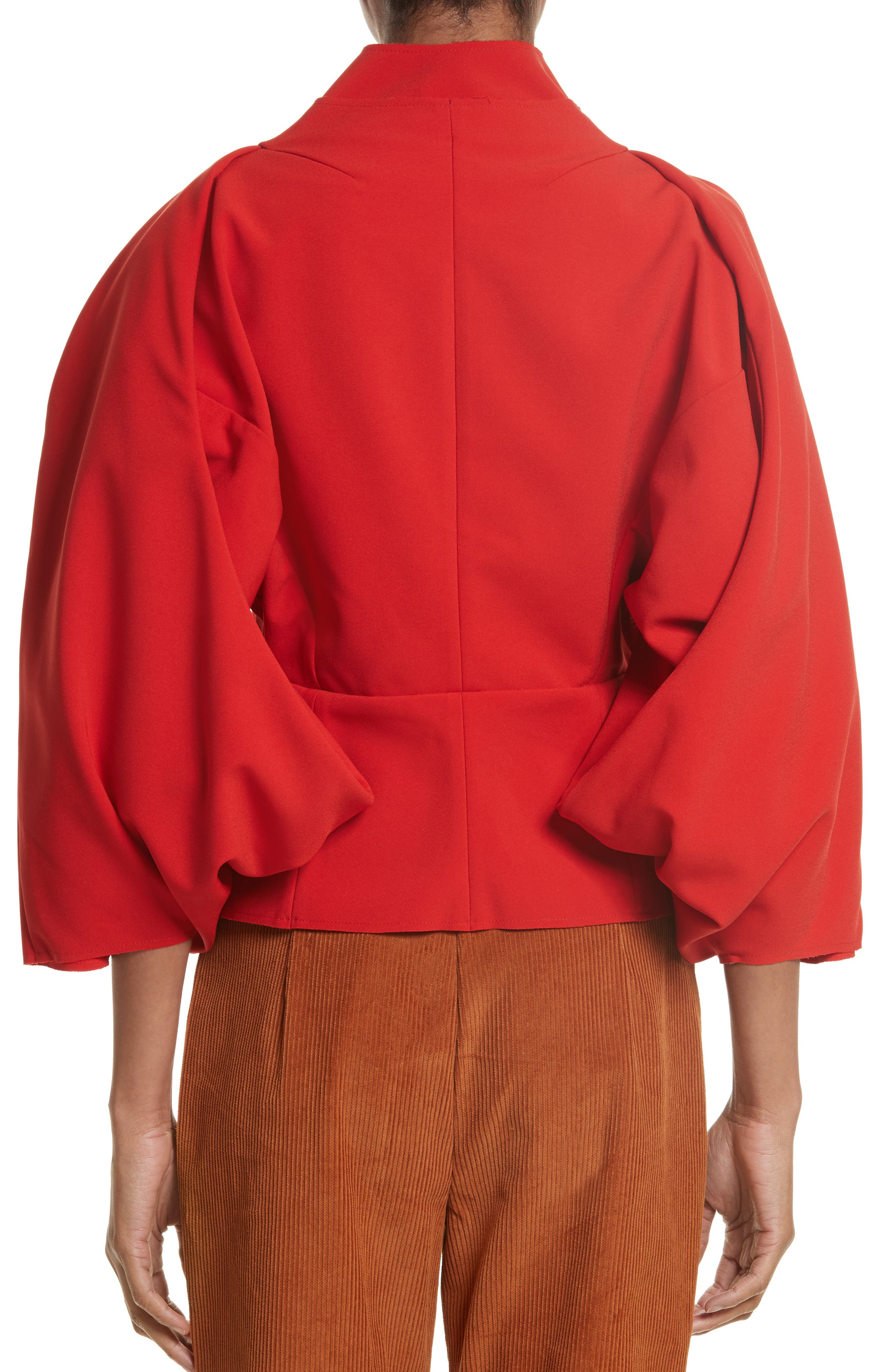 Twisted Sleeve Top,                             Alternate thumbnail 2, color,                             Red