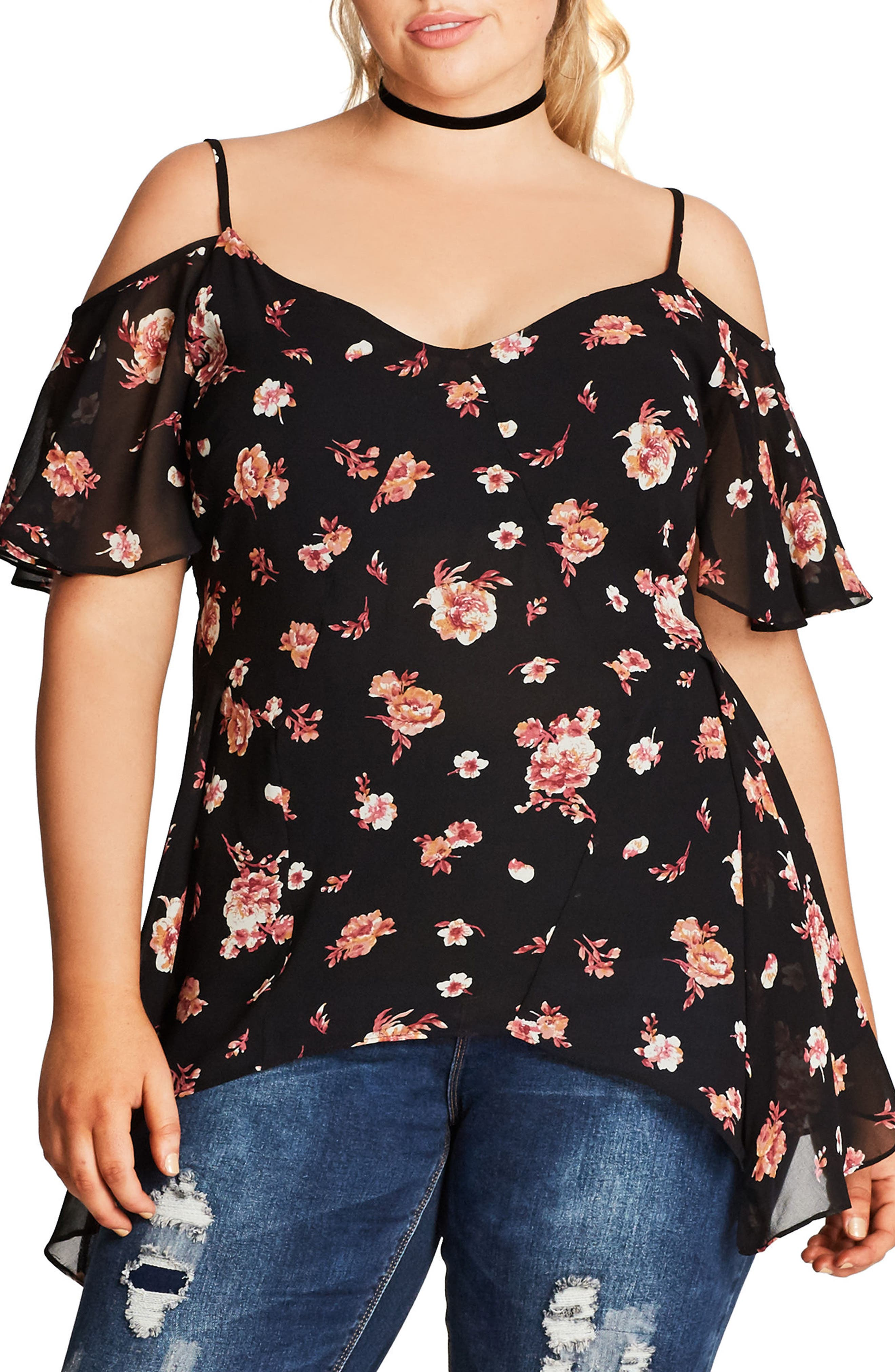 CITY CHIC Floral Lover Off the Shoulder Top