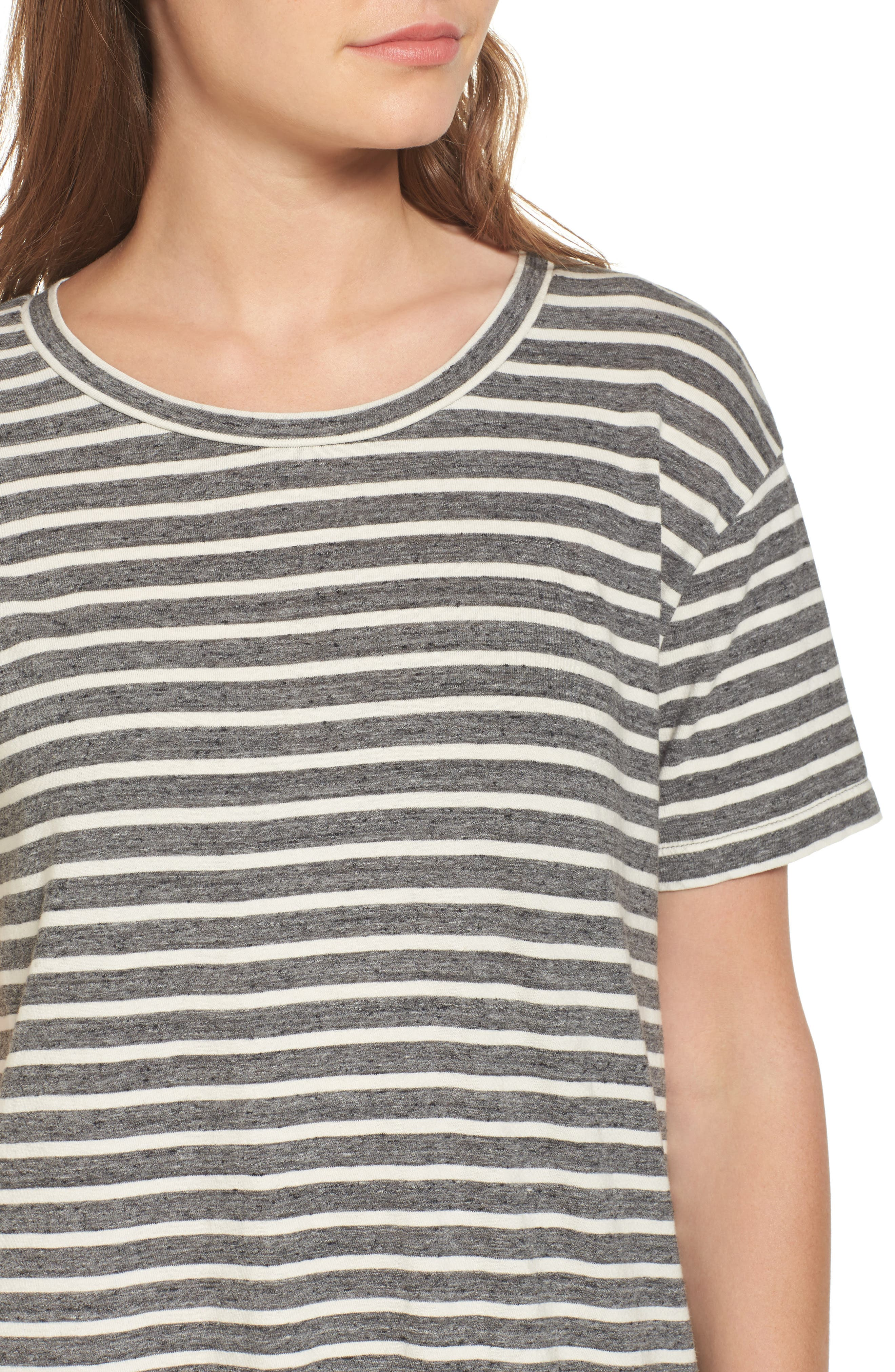 Stripe Knit T-Shirt Dress,                             Alternate thumbnail 4, color,                             Charcoal Anchor Stripe