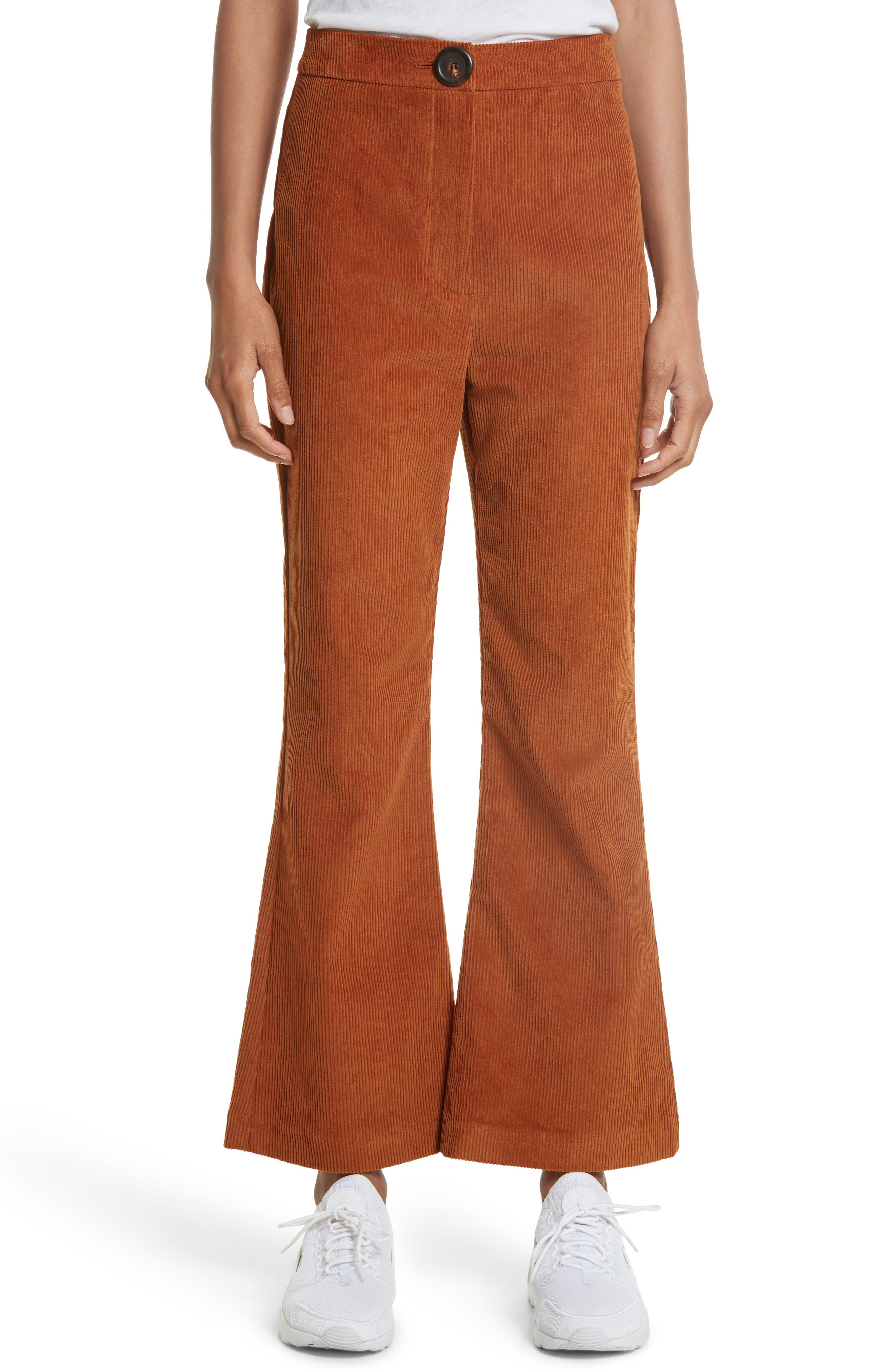 Crop Flare Corduroy Trousers,                         Main,                         color, Rust