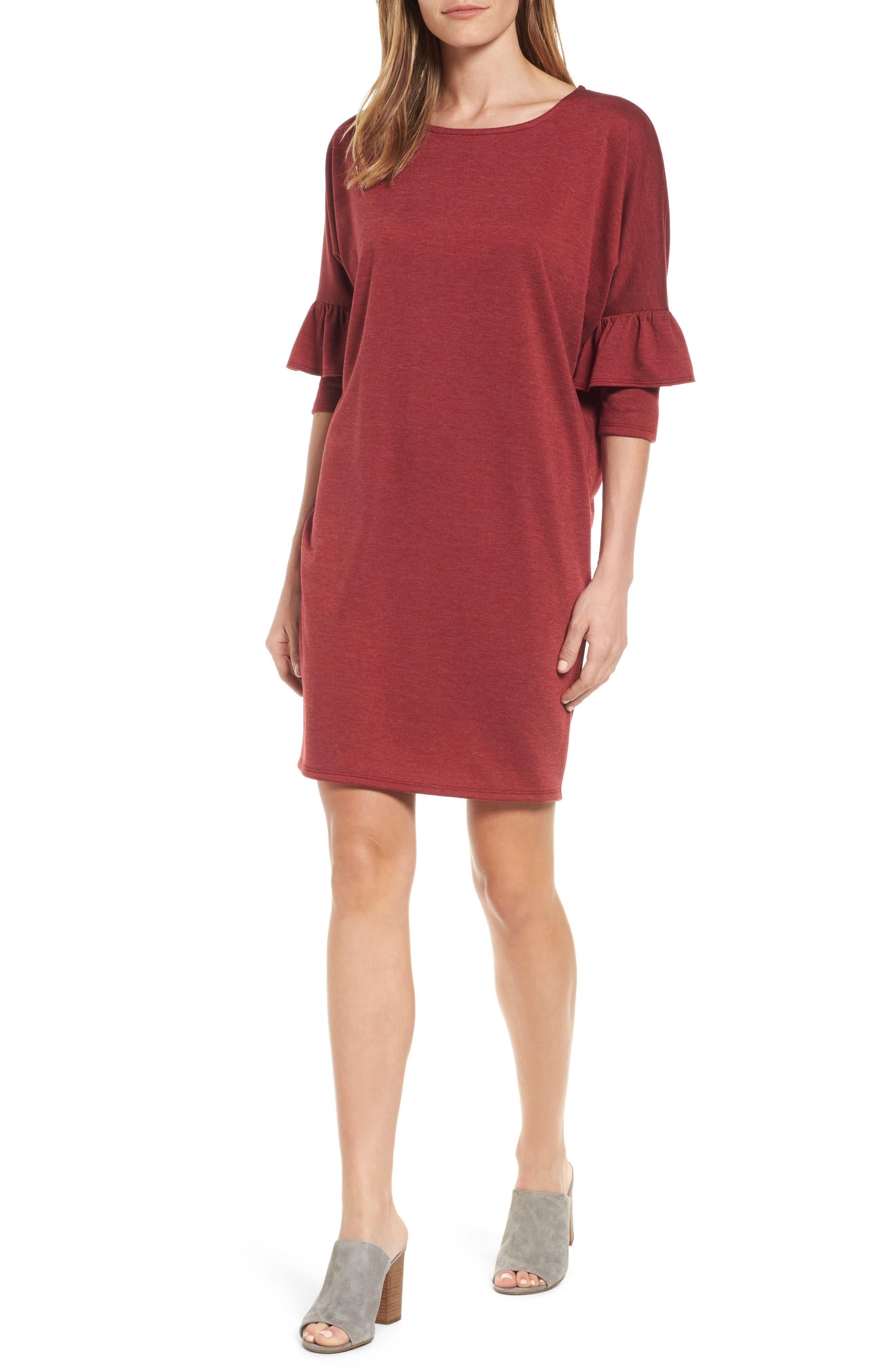 Bobeau Ruffle Sleeve Tunic Dress (Regular & Petite)